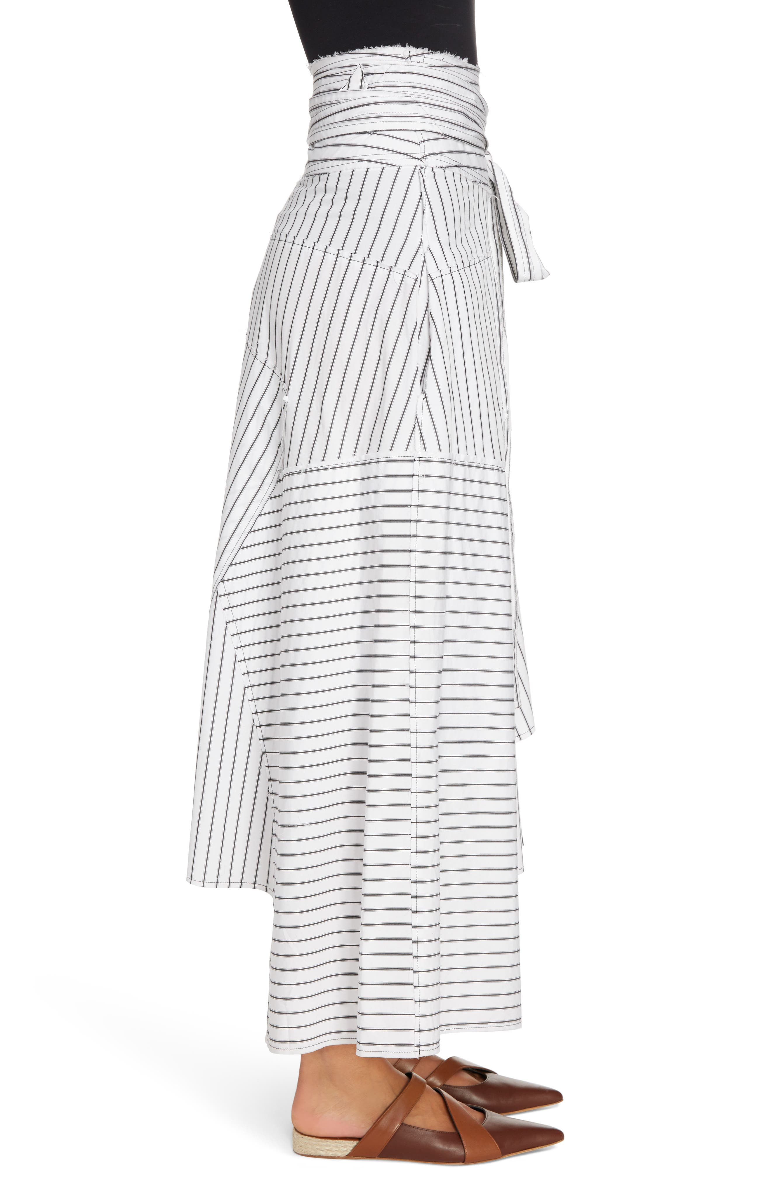 Patchwork Pinstripe Wrap Skirt,                             Alternate thumbnail 3, color,                             900