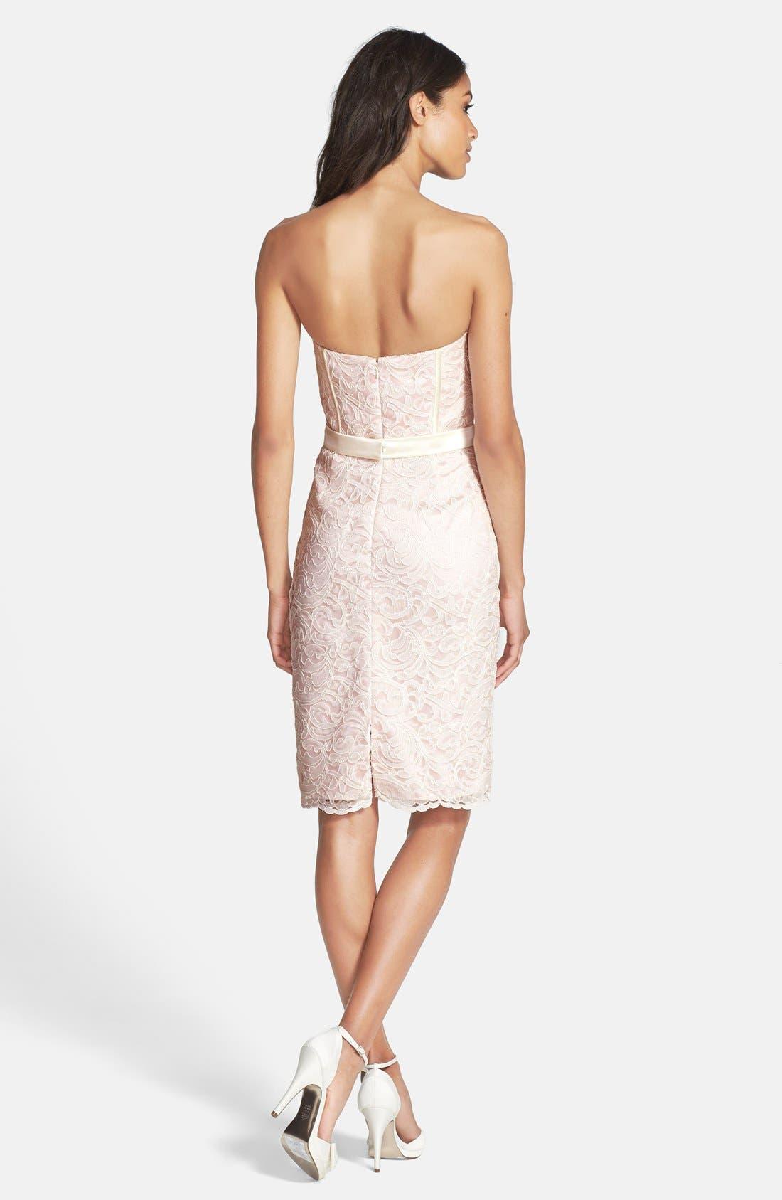 Strapless Lace Overlay Matte Satin Dress,                             Alternate thumbnail 4, color,