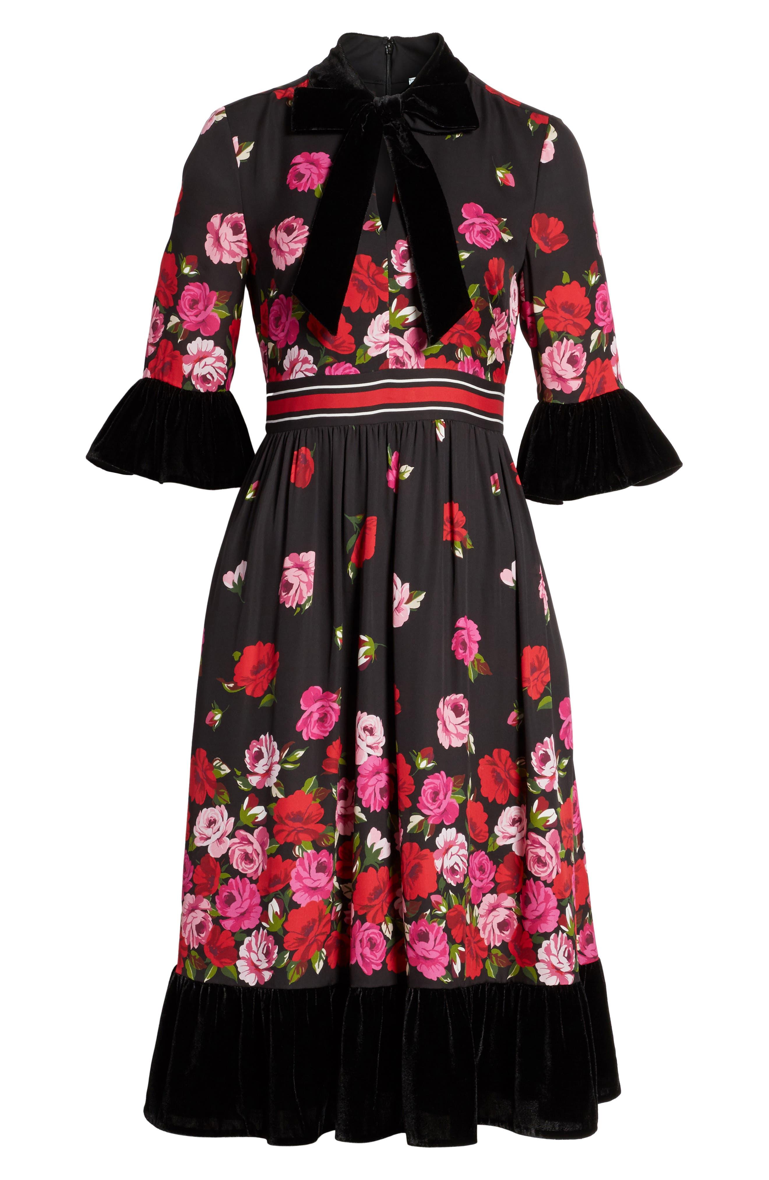 scattered rose velvet trim silk dress,                             Alternate thumbnail 6, color,                             006