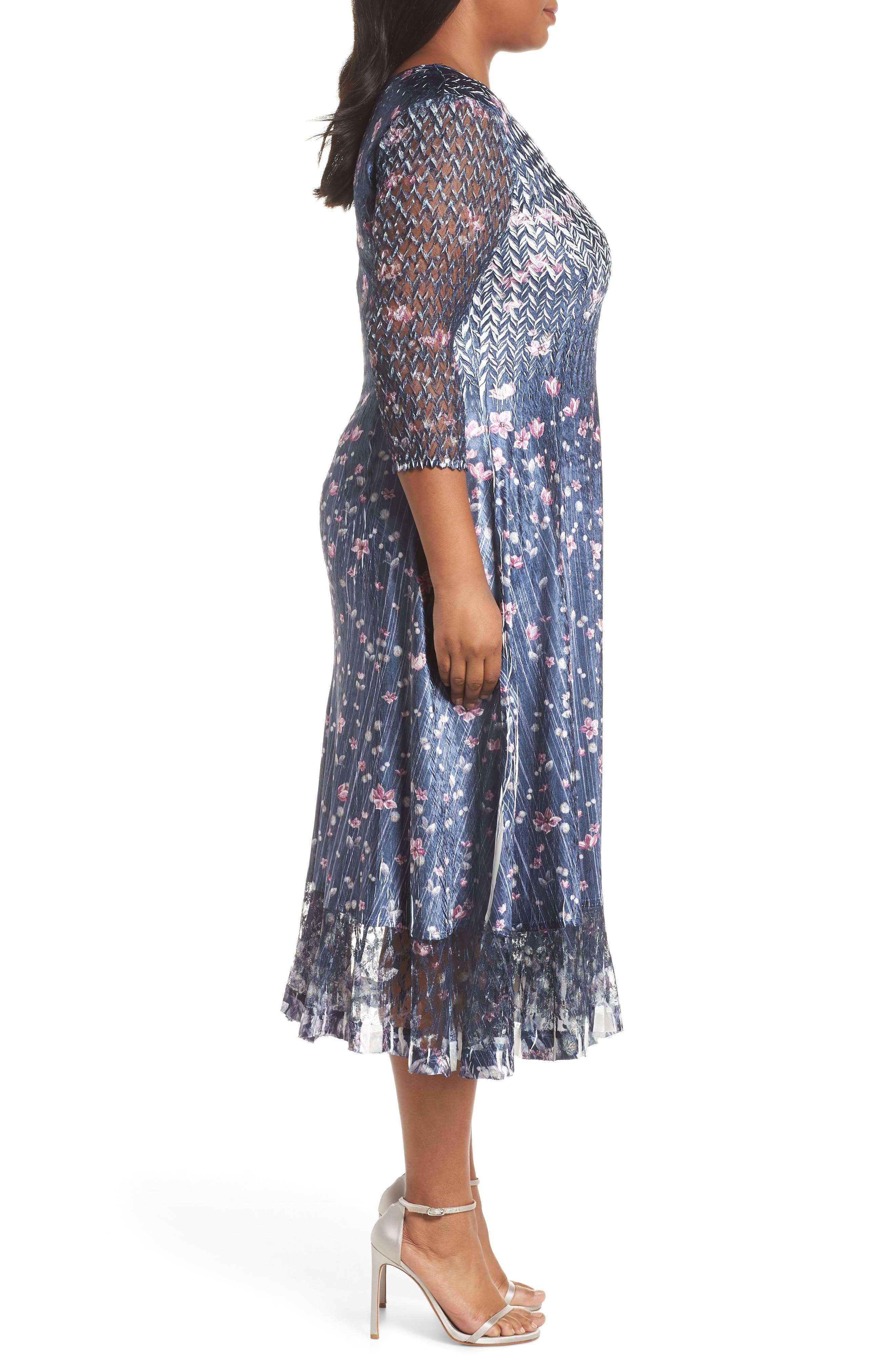Lace Sleeve Charmeuse Midi Dress,                             Alternate thumbnail 3, color,                             WILD THISTLE