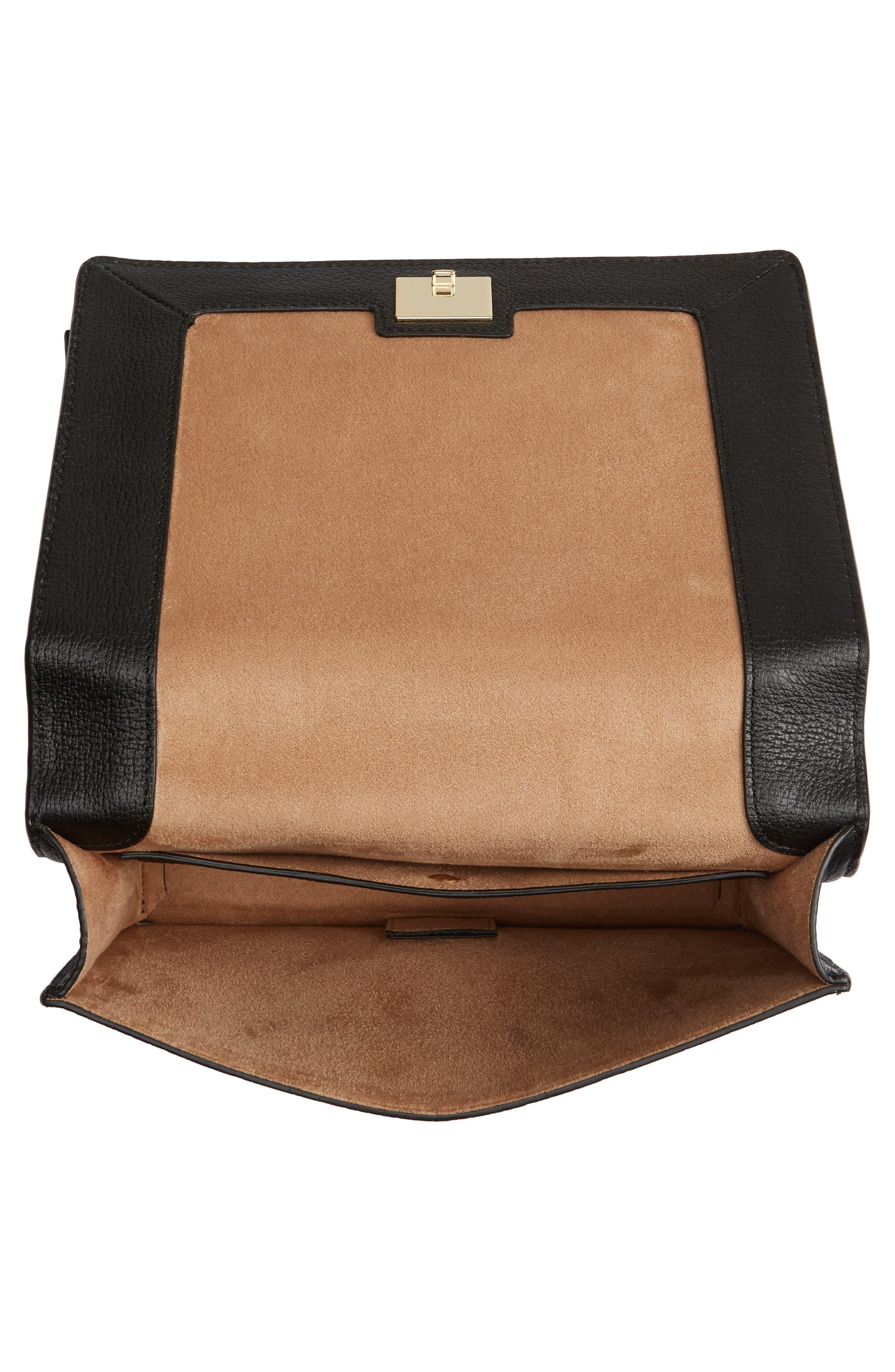 olive drive - marci leather shoulder bag,                             Alternate thumbnail 4, color,                             001