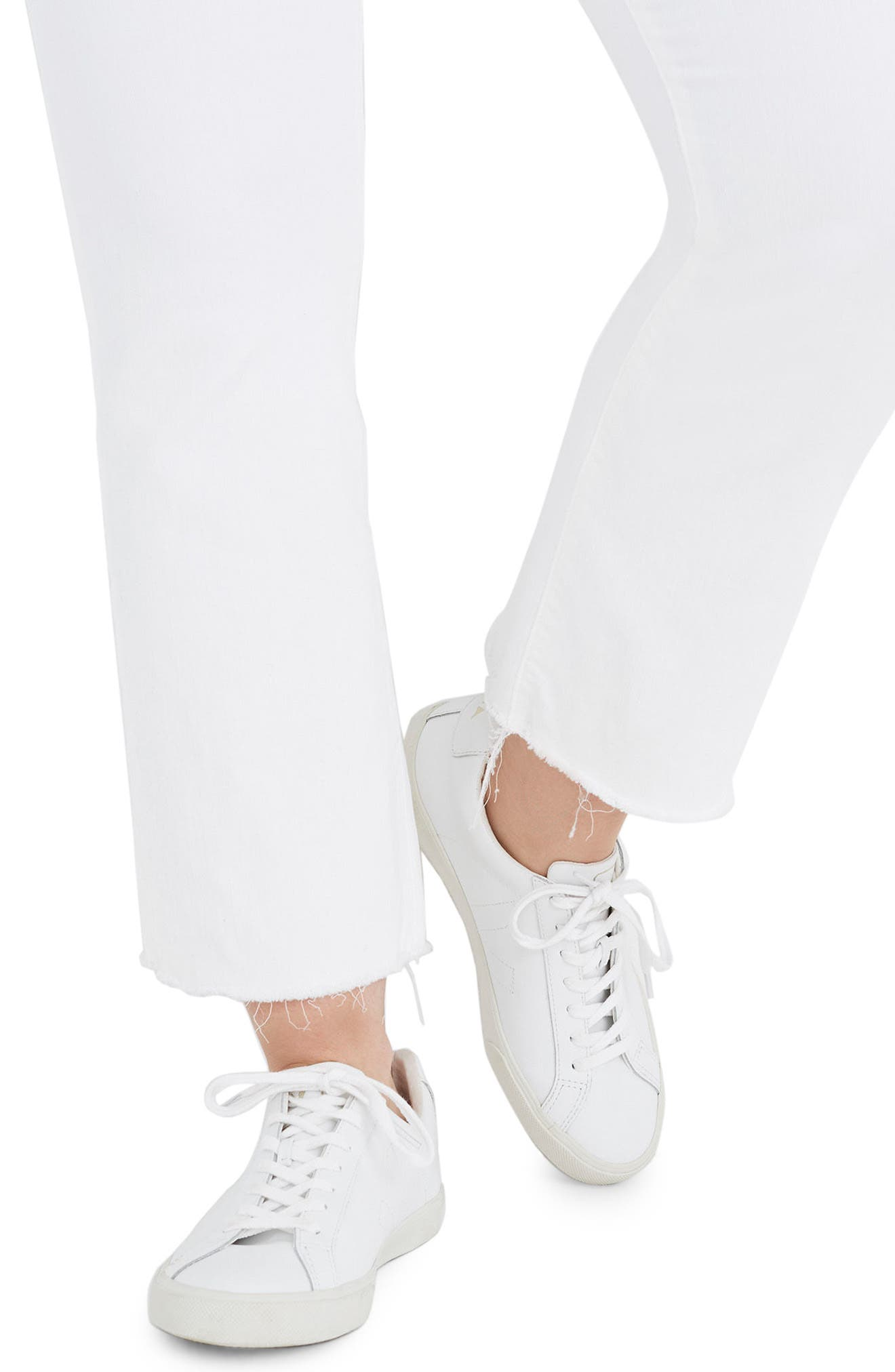 Cali Raw Edge Demi Boot Jeans,                             Alternate thumbnail 4, color,                             PURE WHITE