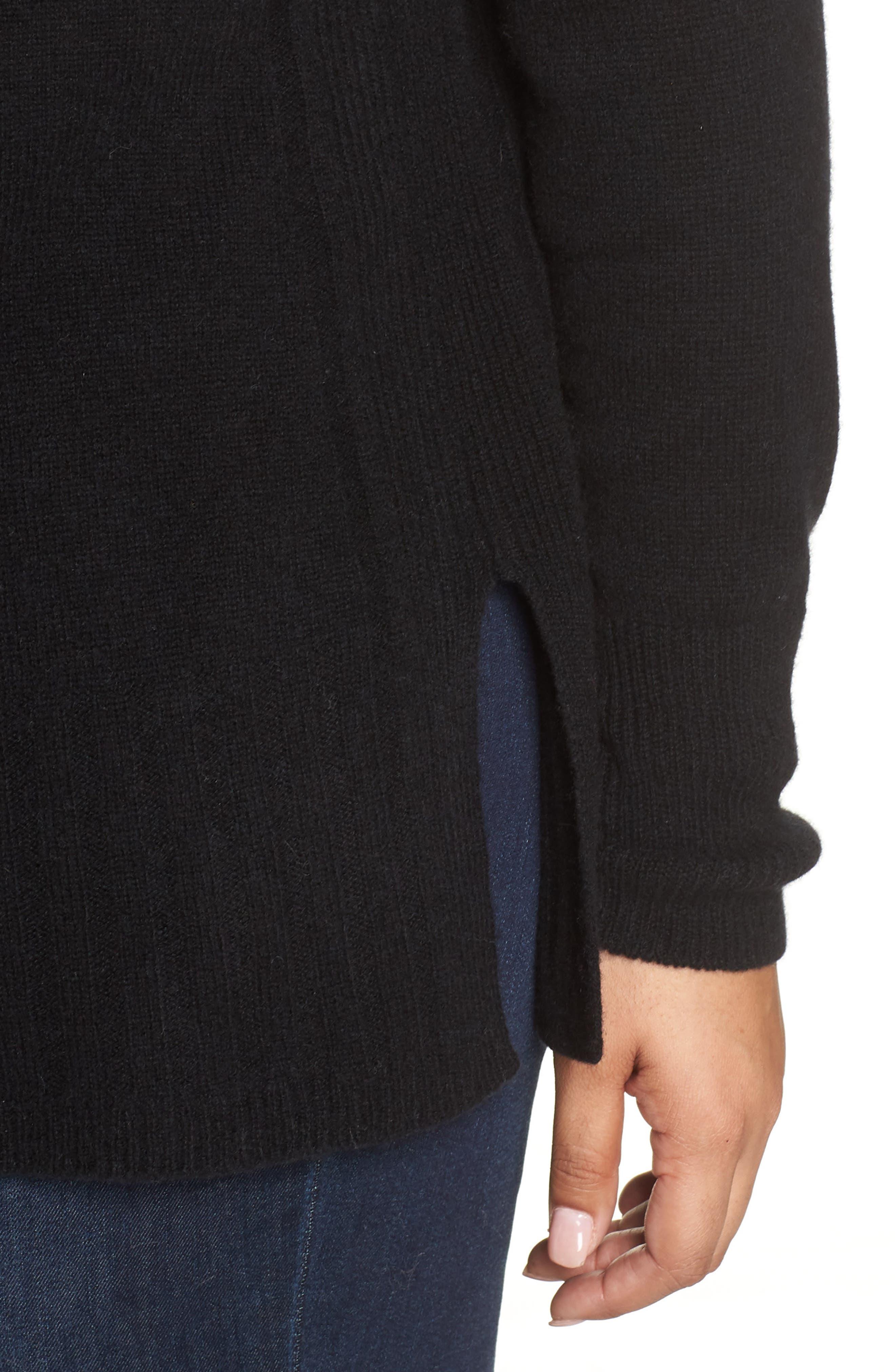 Wool & Cashmere Side Split Pullover,                             Alternate thumbnail 4, color,                             BLACK