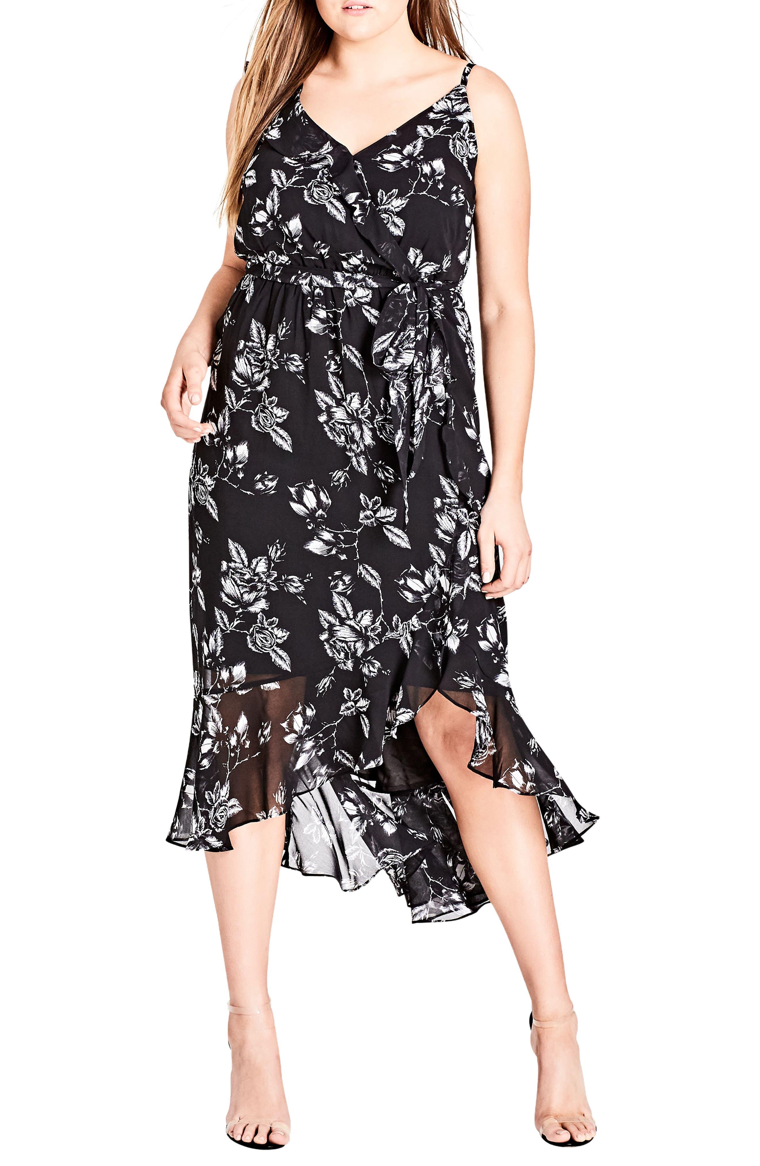 Plus Size City Chic Frill Rose Faux Wrap Dress, Black