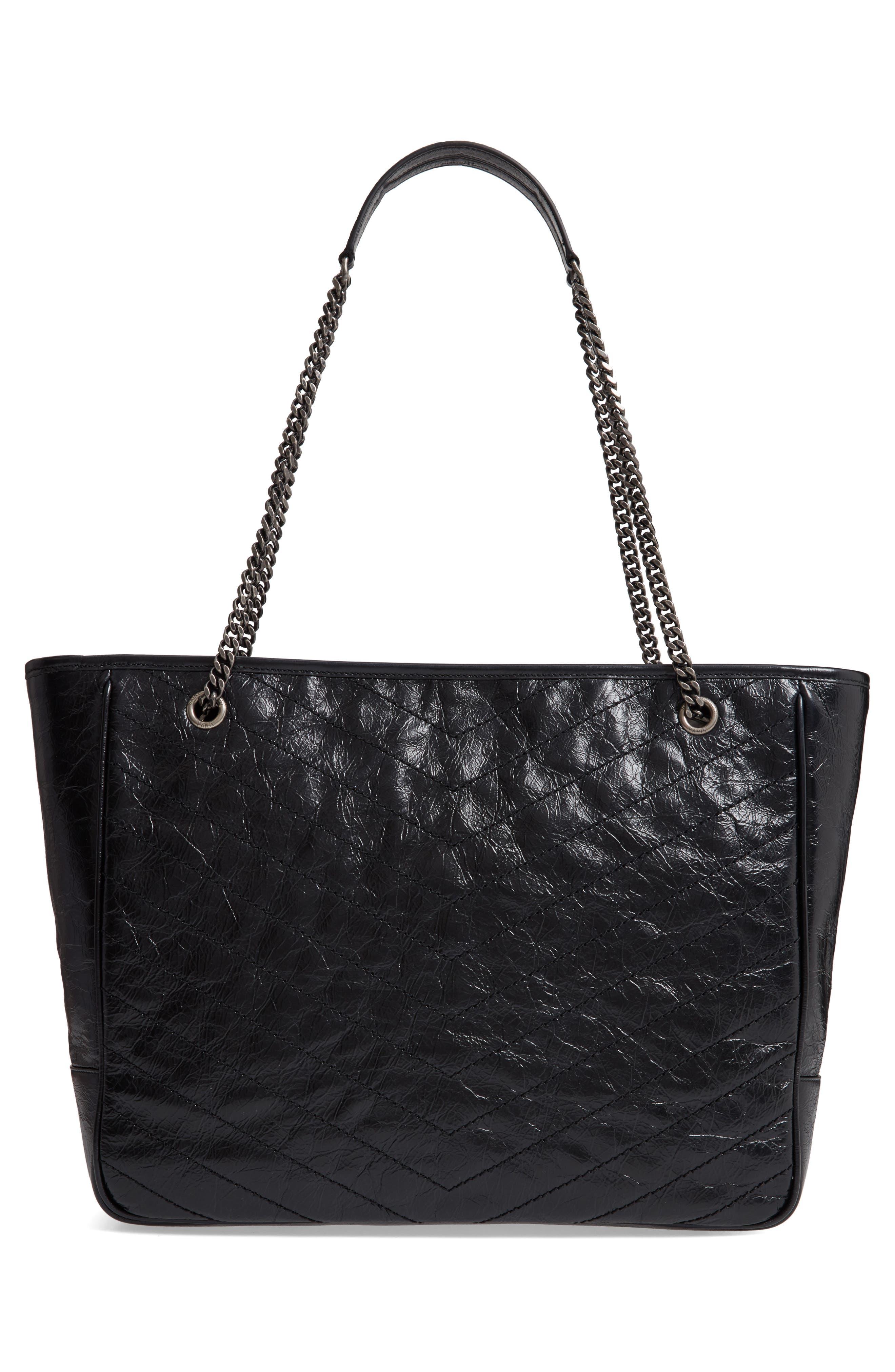 Large Niki Calfskin Leather Shopper,                             Alternate thumbnail 3, color,                             NOIR
