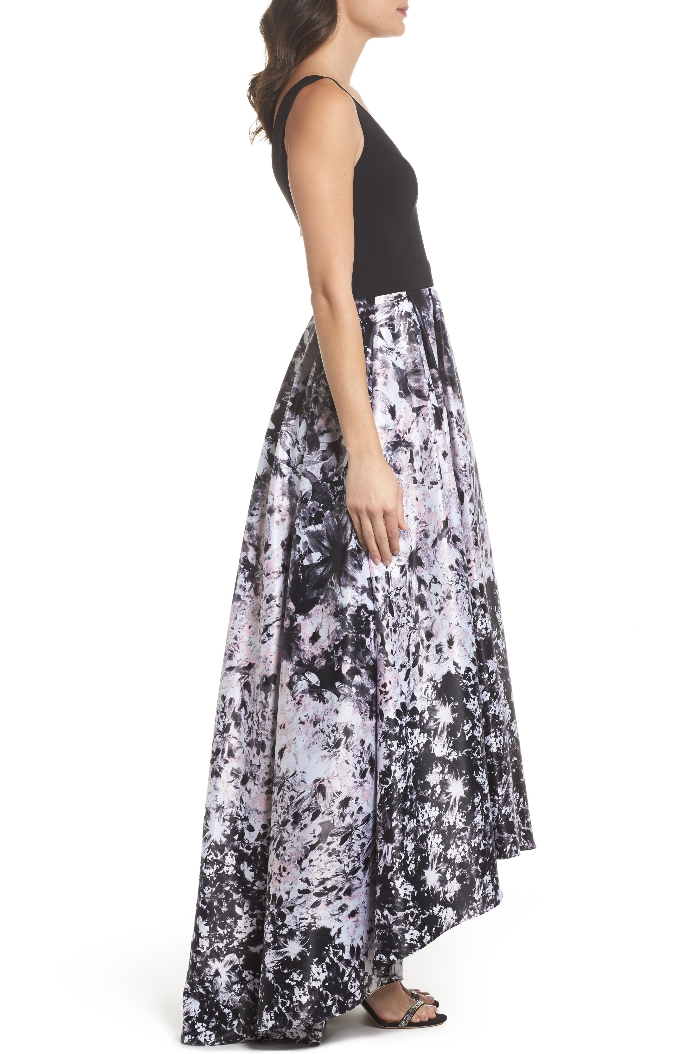 Print Skirt High/Low Gown,                             Alternate thumbnail 3, color,                             007