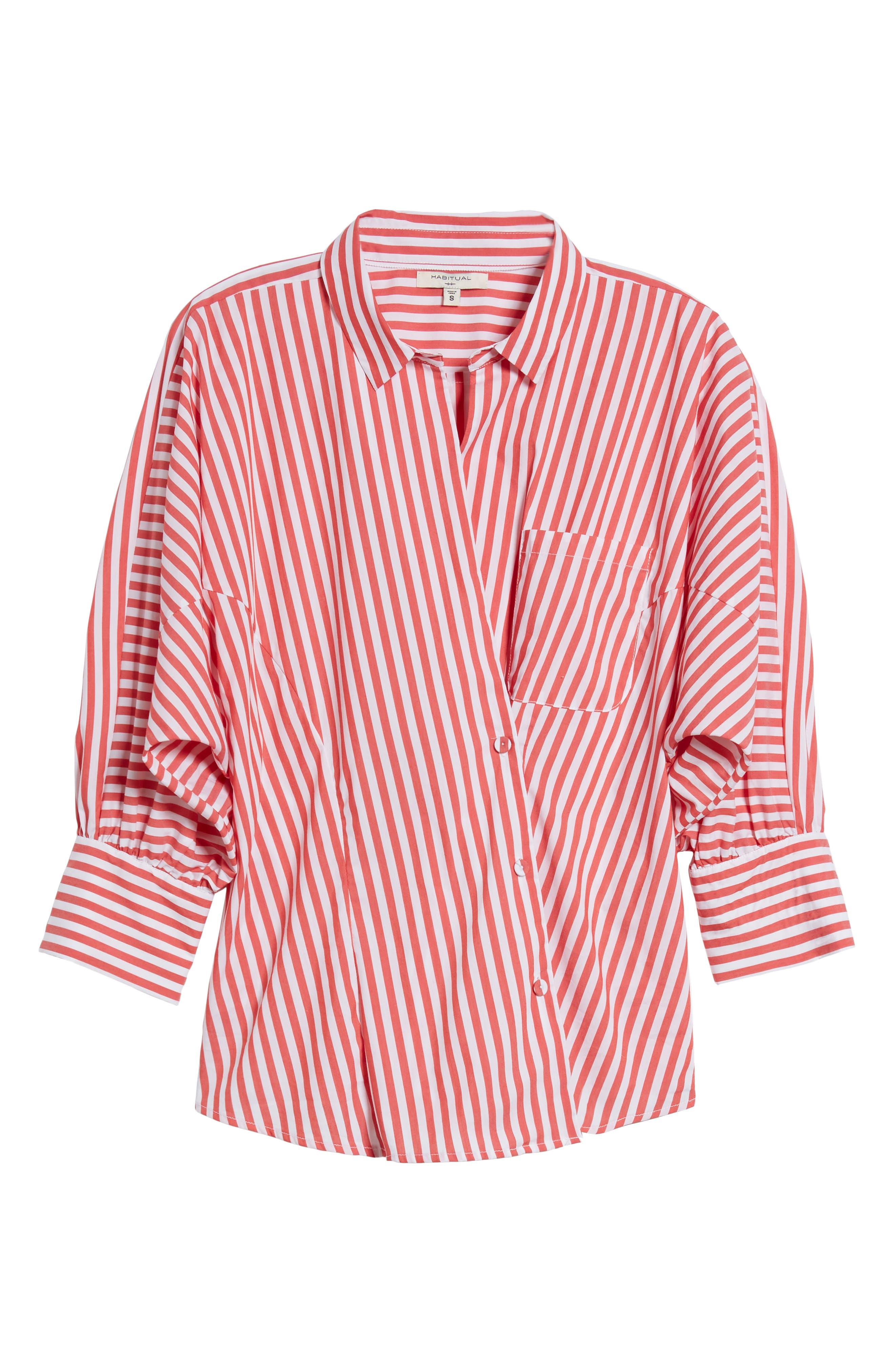 Asymmetrical Stripe Blouse,                             Alternate thumbnail 7, color,                             RED/ WHITE STRIPE