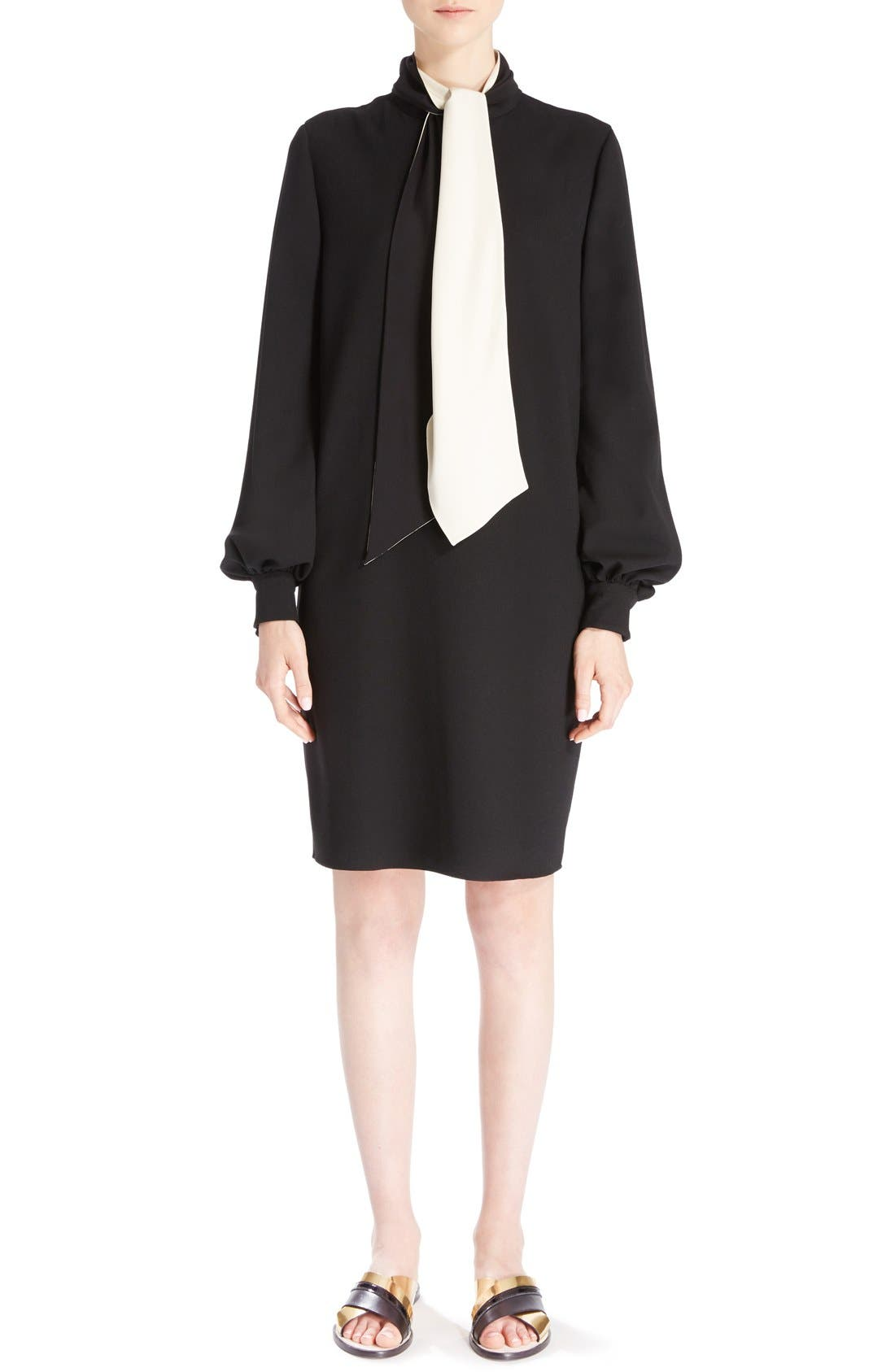 Wool Crepe Dress with Detachable Scarf,                             Main thumbnail 1, color,                             010