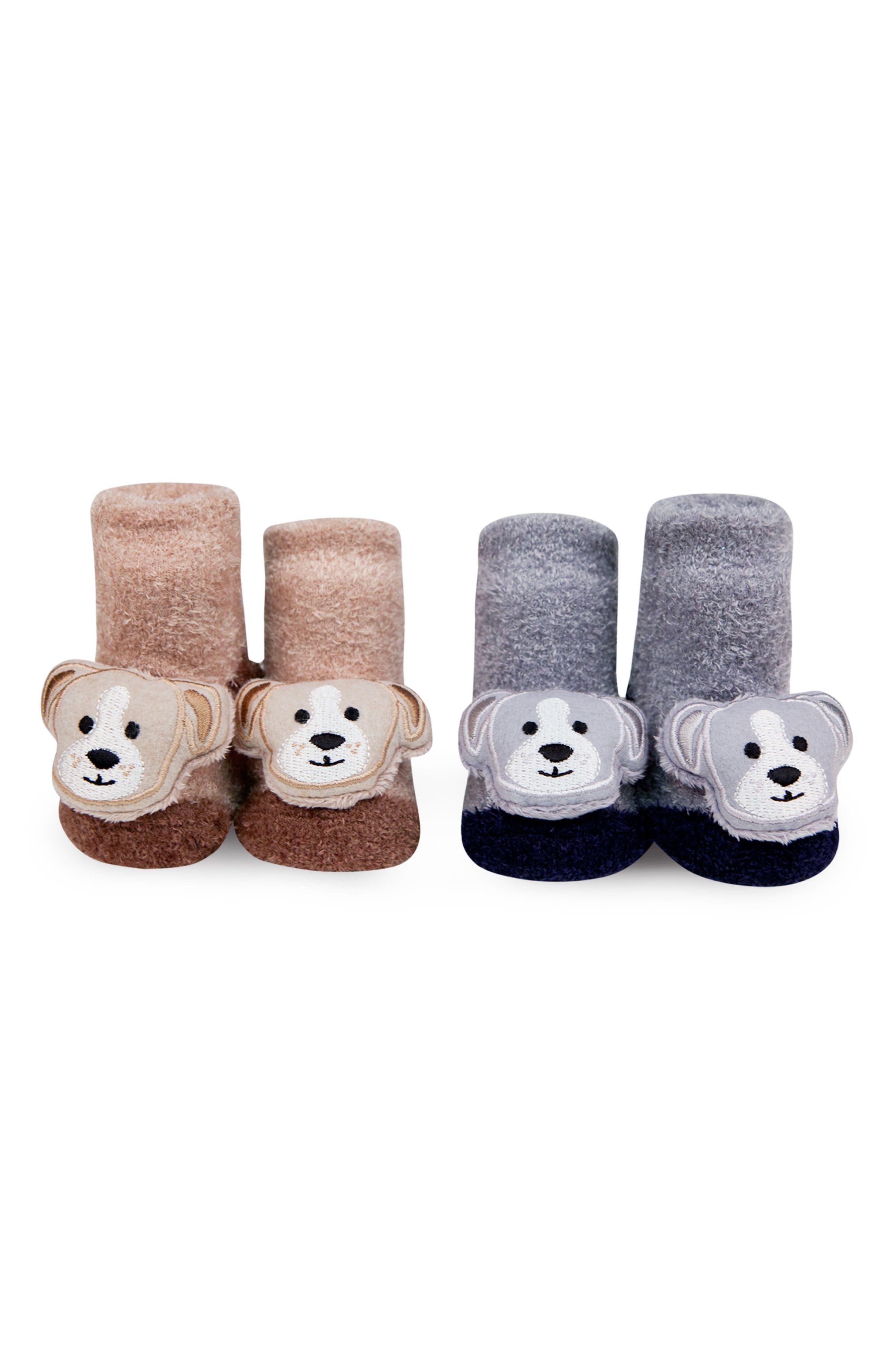 2-Pack Animal Rattle Socks,                             Main thumbnail 1, color,                             BROWN/ GREY