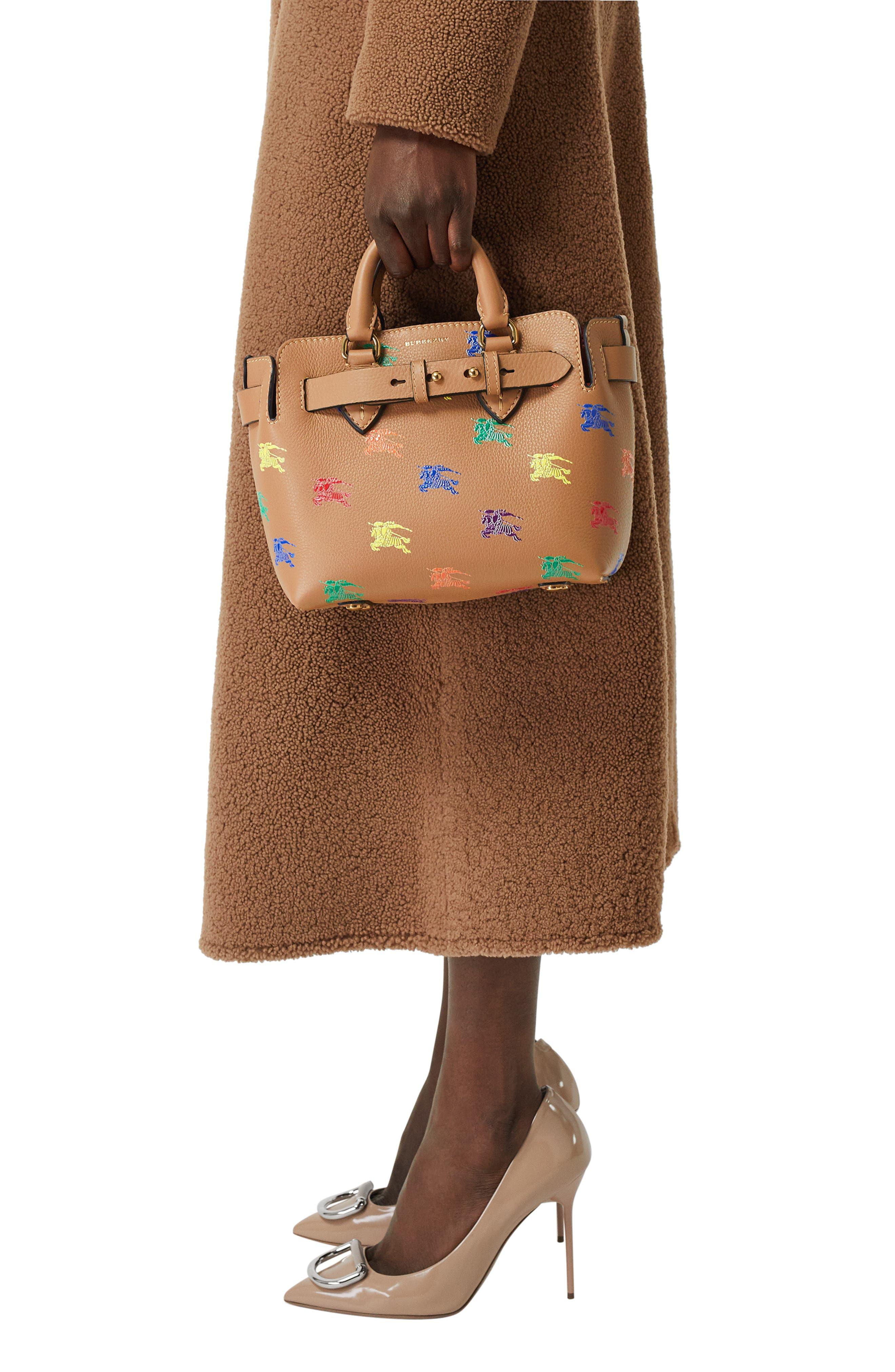 Baby Belt Bag Rainbow Logo Leather Tote,                             Alternate thumbnail 8, color,                             LIGHT CAMEL