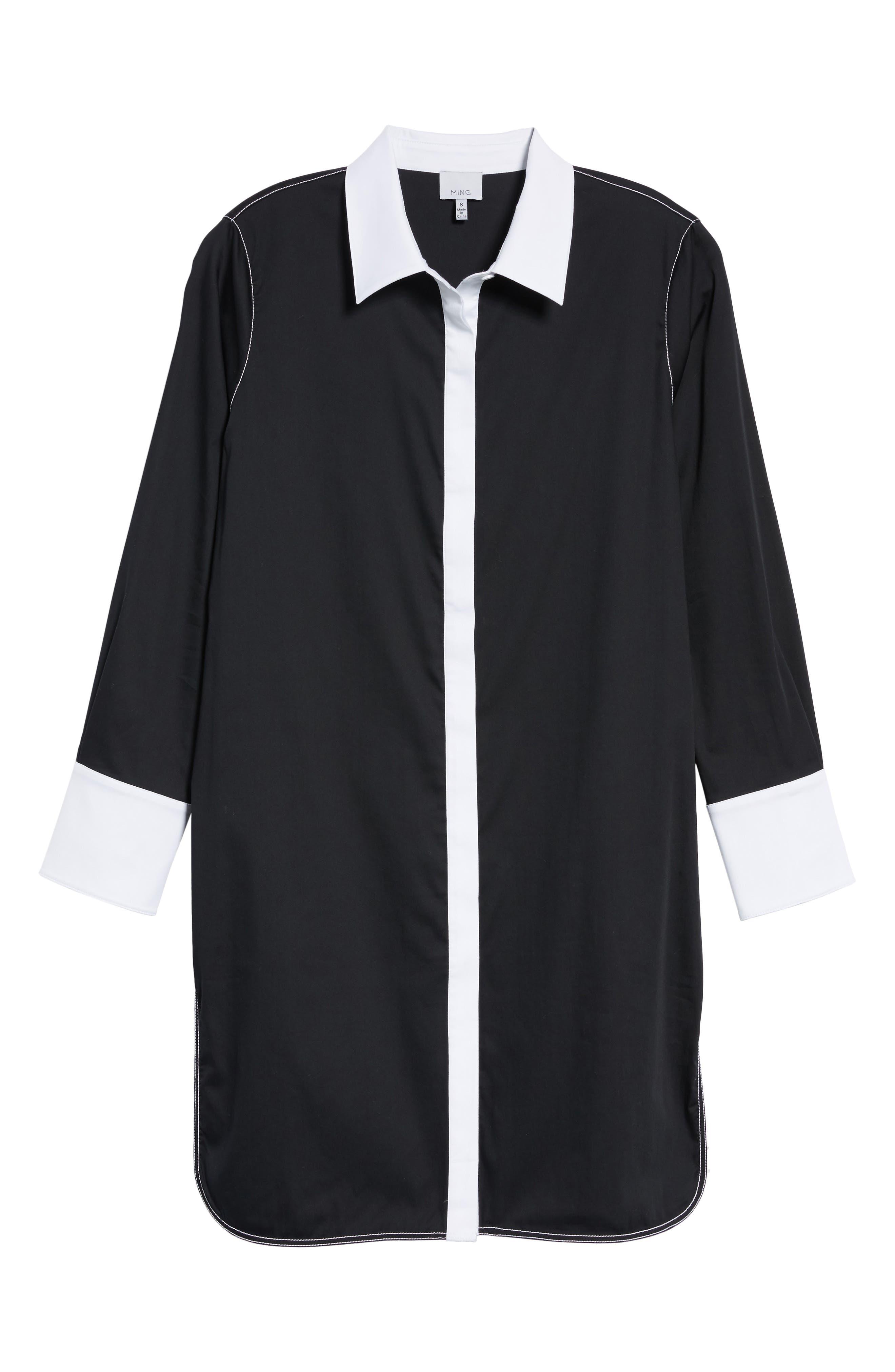 Contrast Trim Shirtdress,                             Alternate thumbnail 6, color,                             002