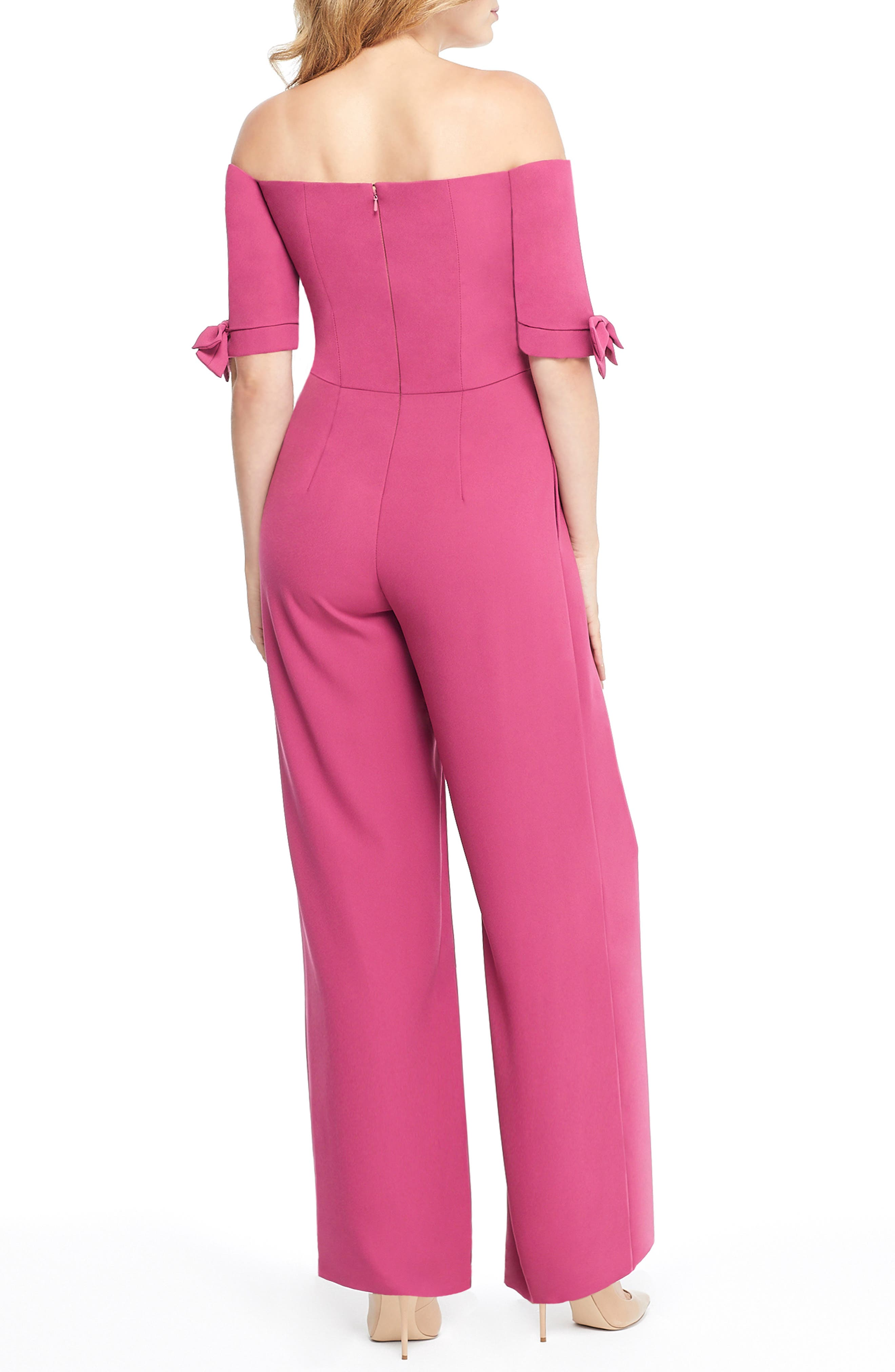 Meredith Crepe Off the Shoulder Jumpsuit,                             Alternate thumbnail 2, color,                             DEEP MAGENTA