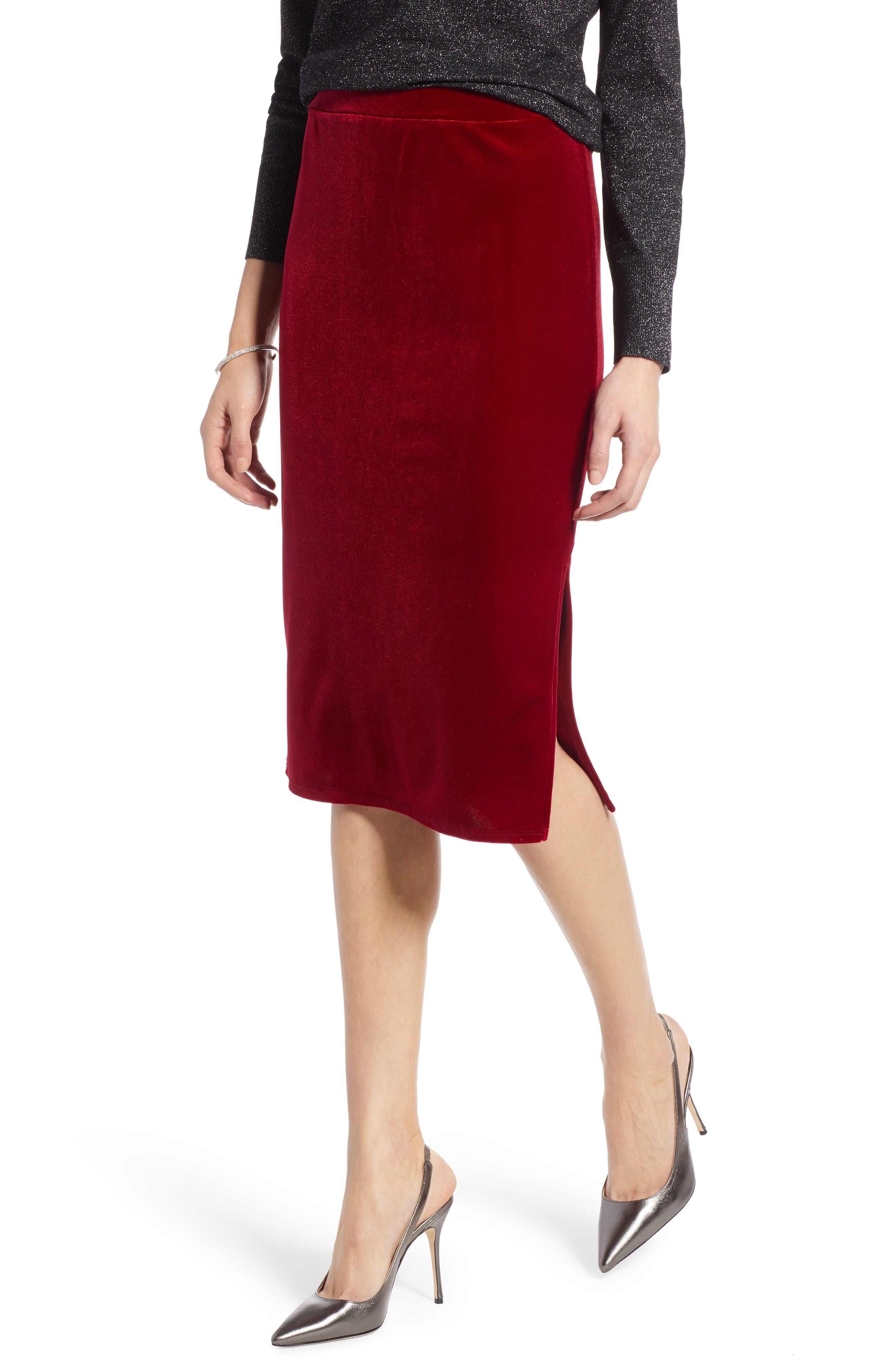 Halogen Velvet Pencil Skirt, Red