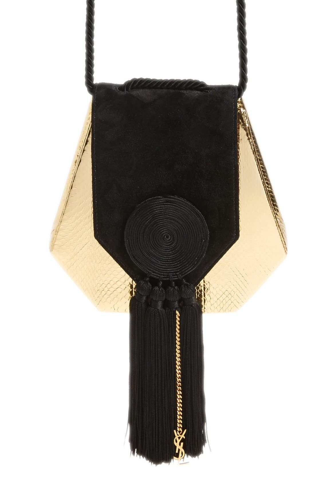 'Opium' Genuine Snakeskin & Leather Saddle Bag,                             Main thumbnail 1, color,                             OR/NOIR