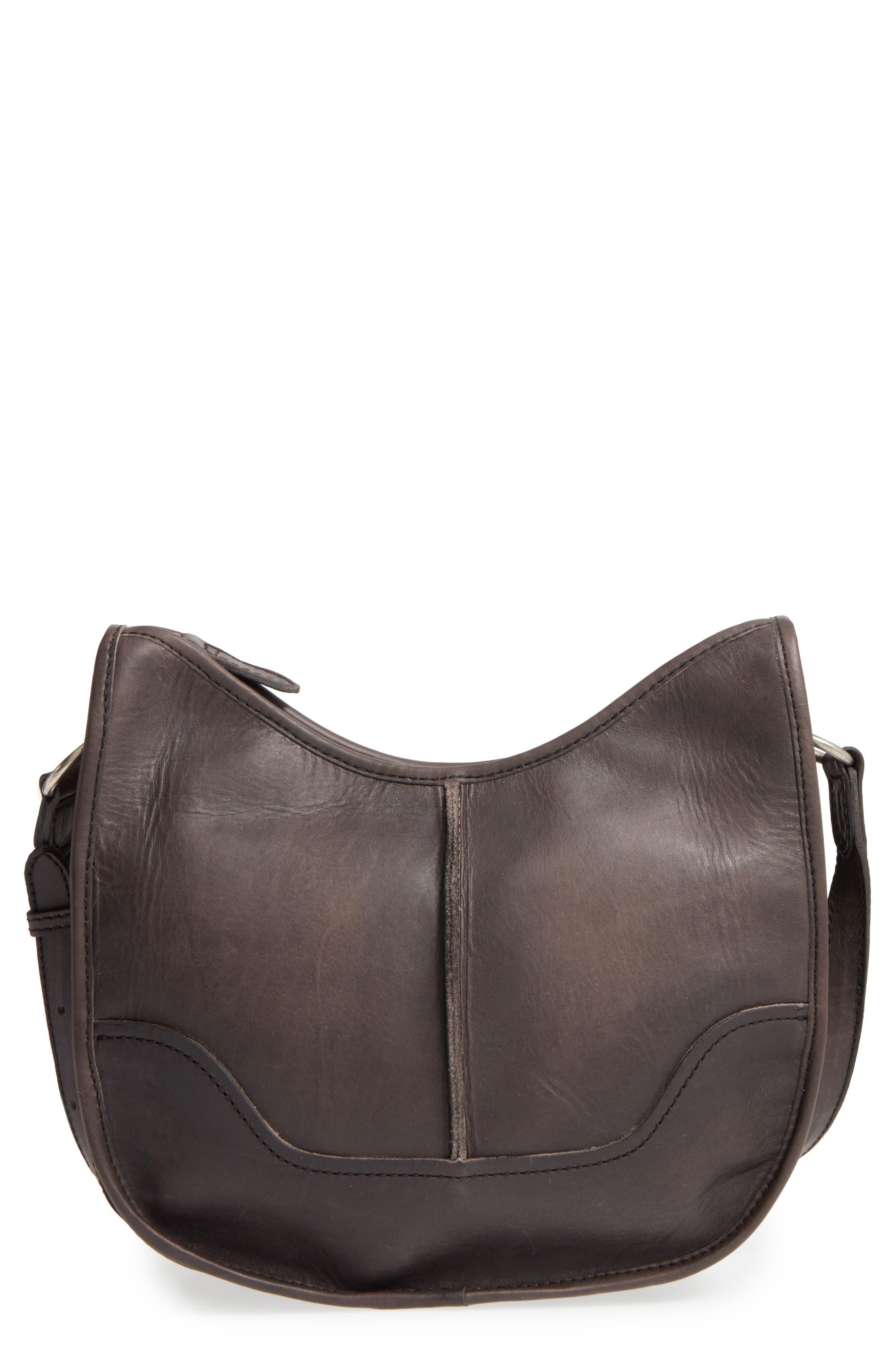 Cara Leather Saddle Bag,                             Main thumbnail 1, color,                             020
