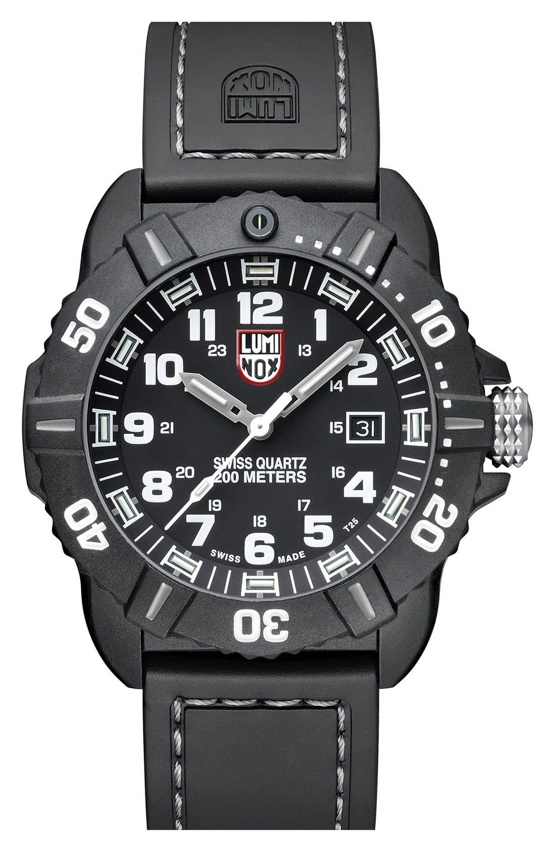 'Coronado' Rubber Strap Watch, 44mm,                         Main,                         color, 001