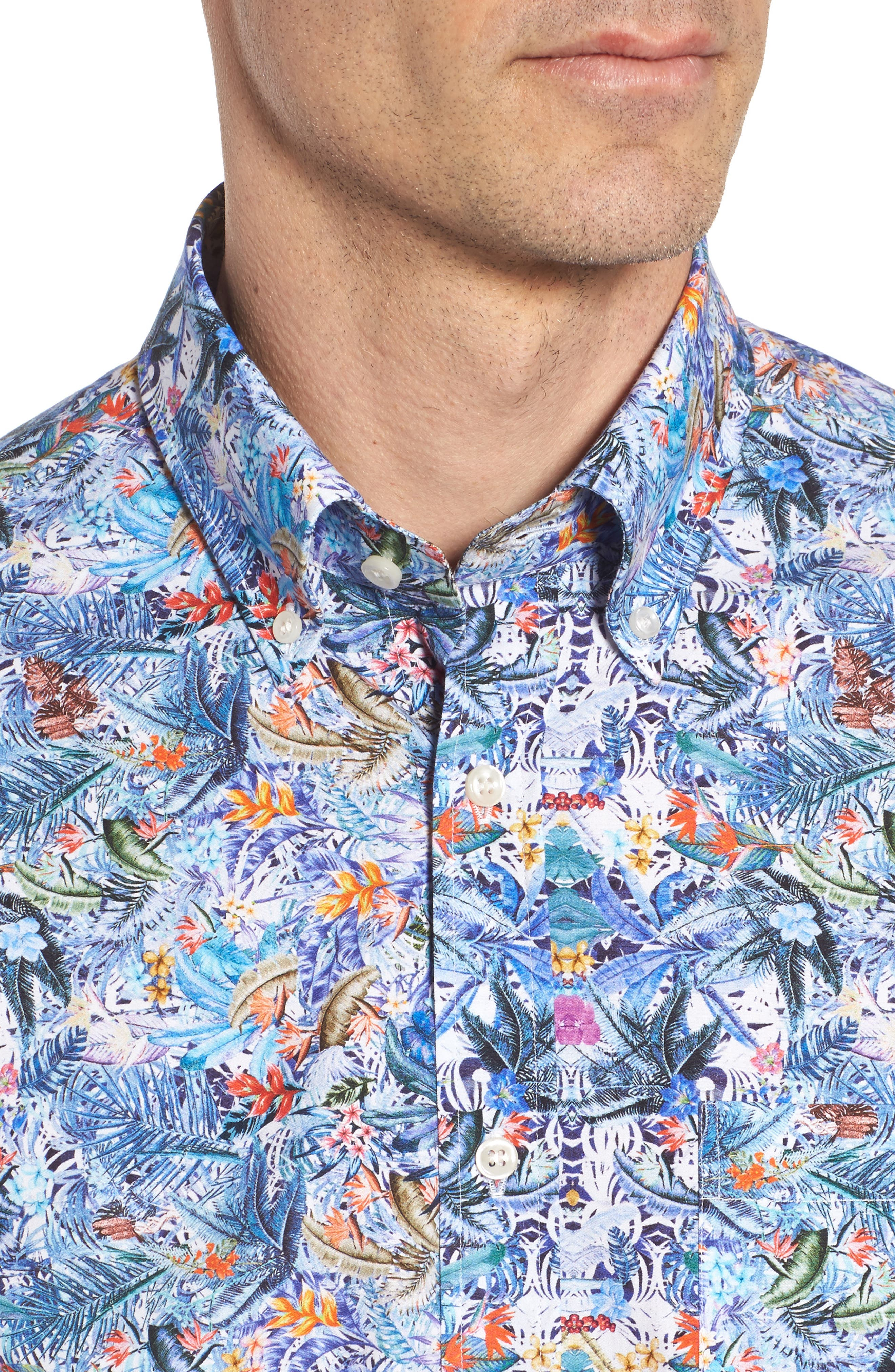 Paul&Shark Regular Fit Tropical Print Sport Shirt,                             Alternate thumbnail 4, color,                             101