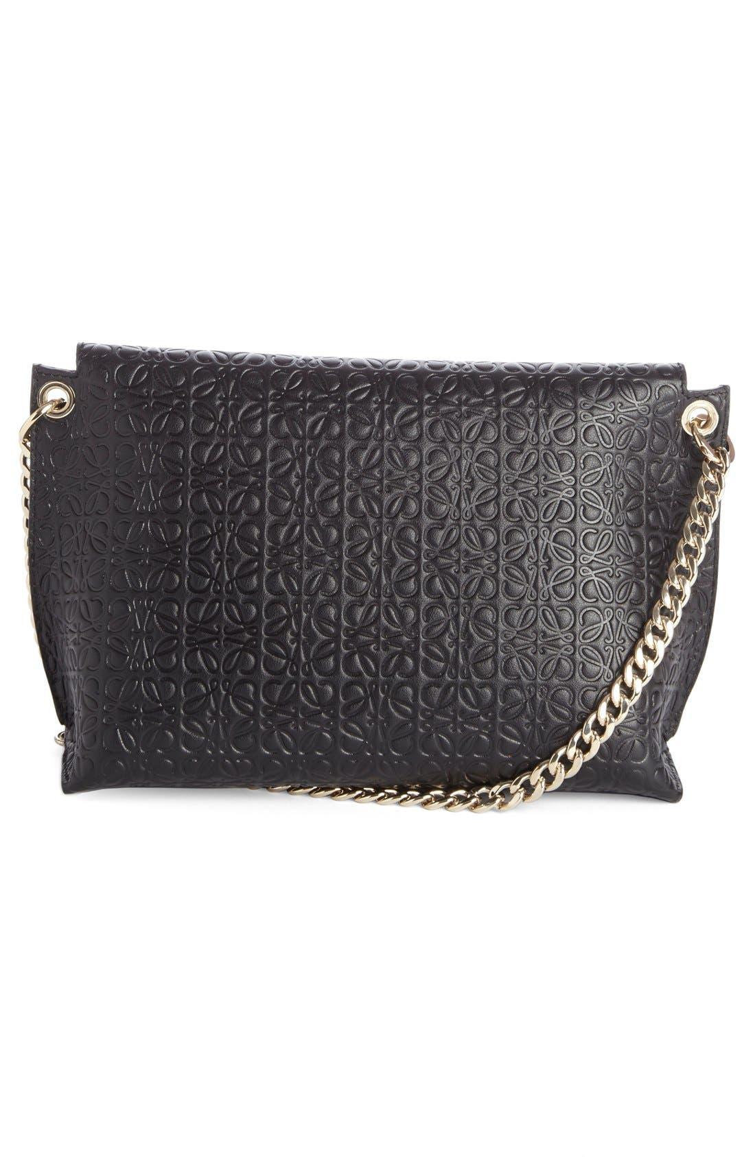 'Avenue' Embossed Calfskin Leather Crossbody Bag,                             Alternate thumbnail 2, color,                             BLACK
