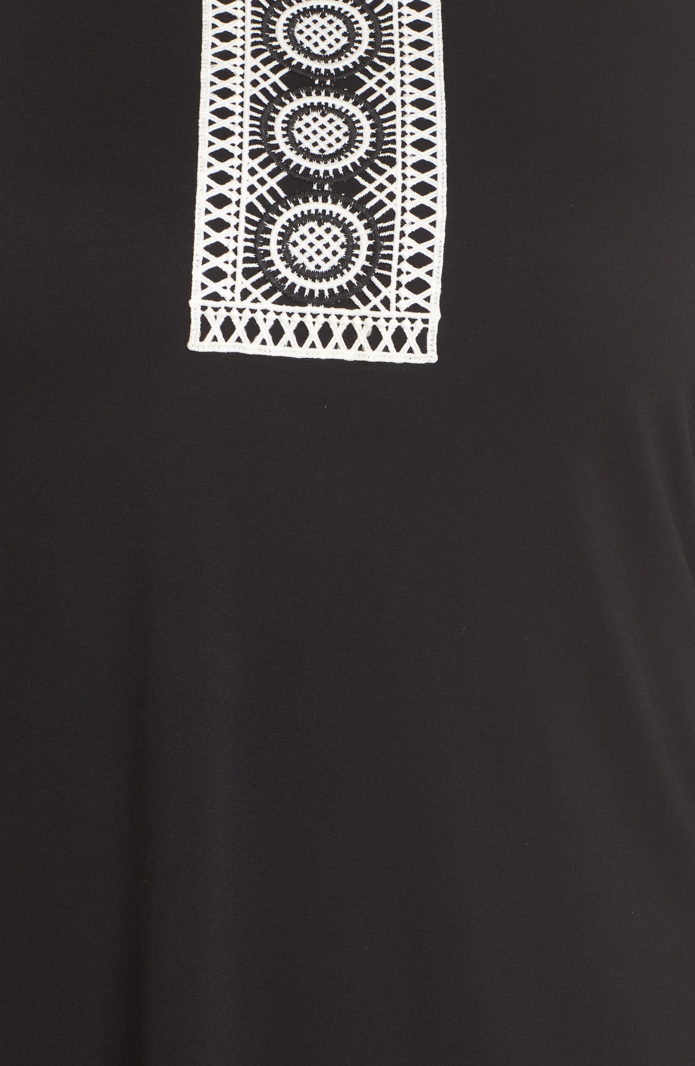 Crochet Bib Appliqué Top,                             Alternate thumbnail 6, color,                             RICH BLACK