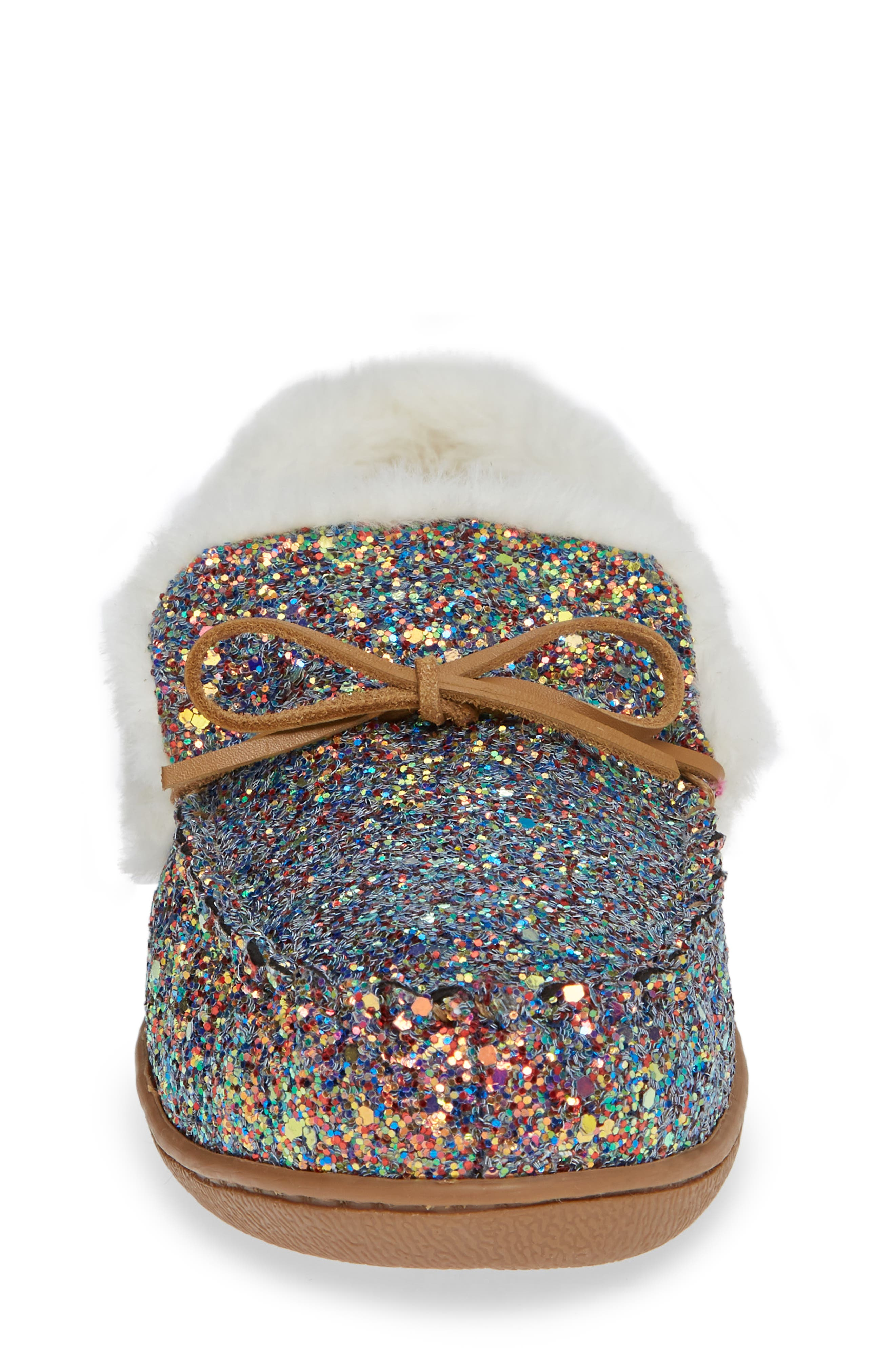 Poppy Moc Slipper,                             Alternate thumbnail 4, color,                             PINK MULTI GLITTER