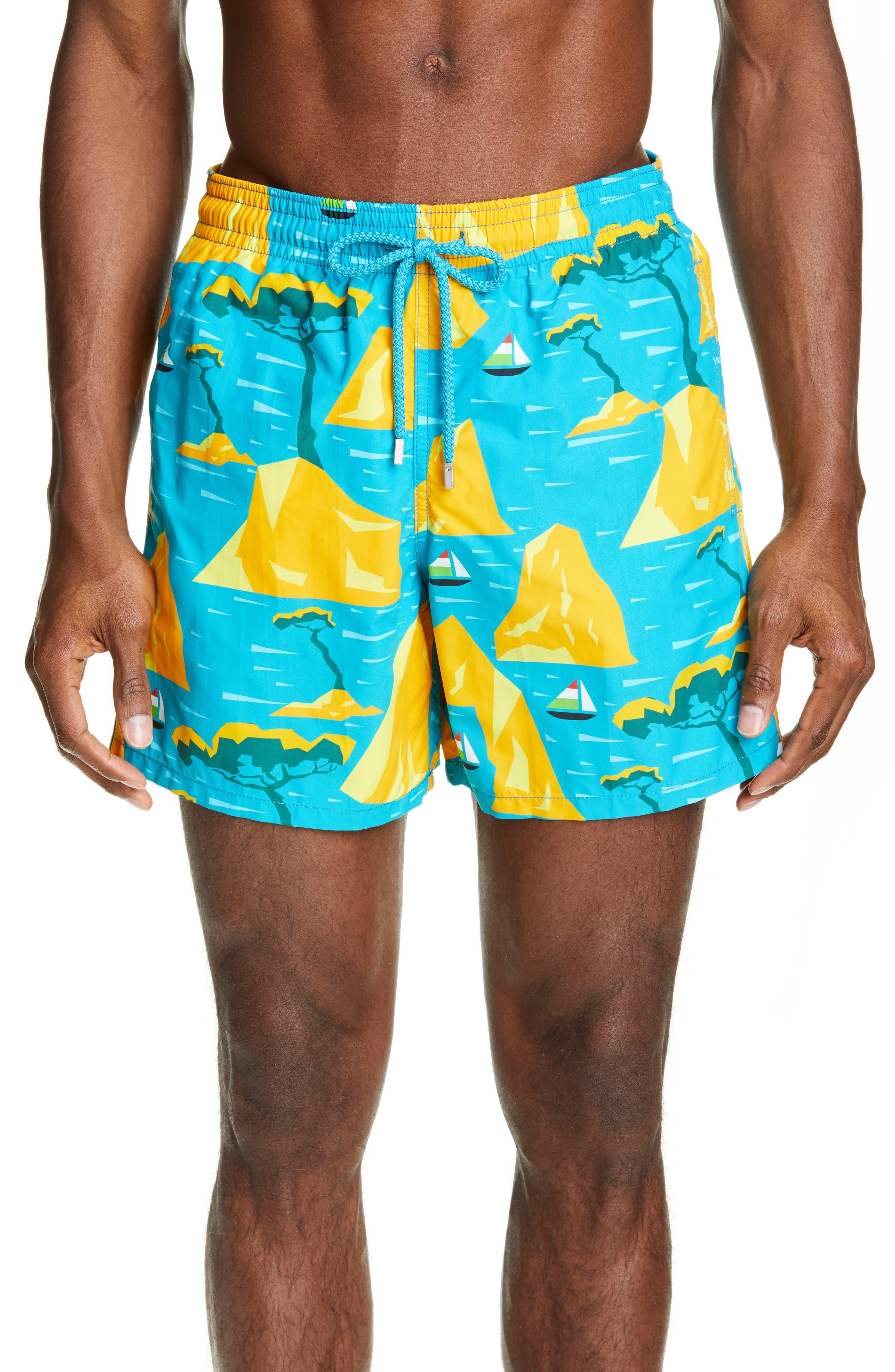 Vilebrequin Capri Swim Trunks, Blue/green