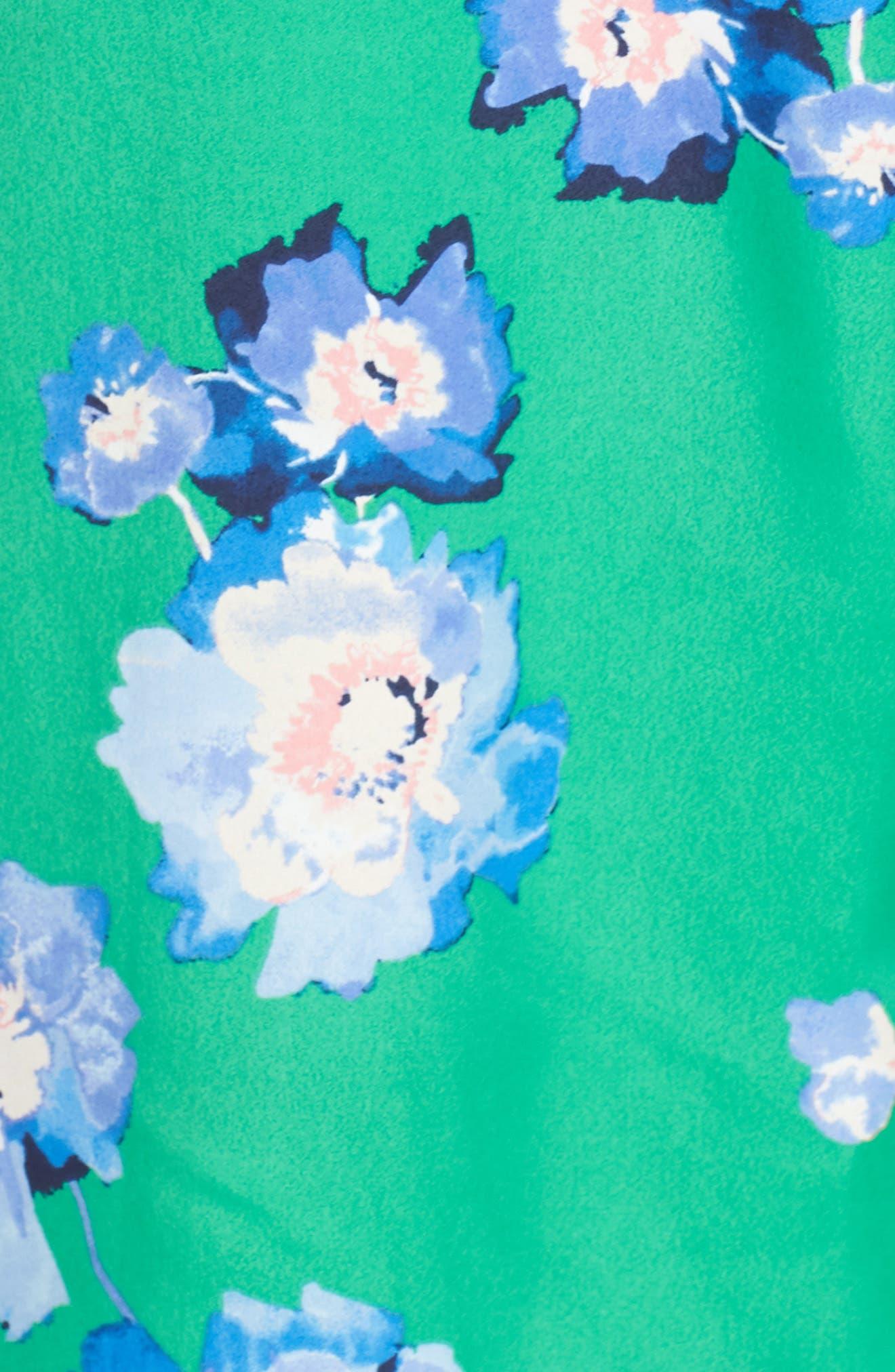 Blouson Sleeve Wrap Midi Dress,                             Alternate thumbnail 6, color,                             GREEN