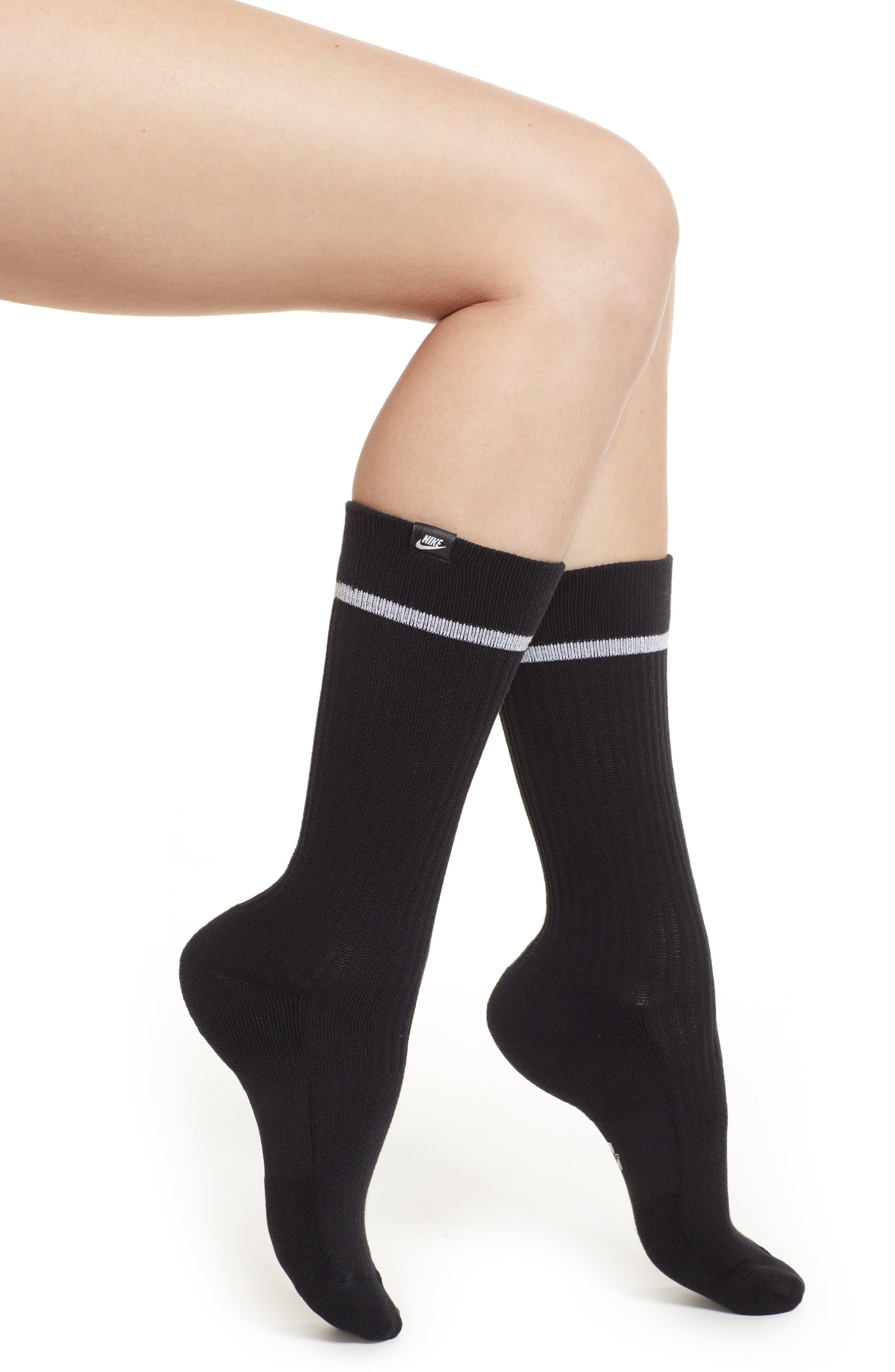 2-Pack SNKR Sox Essential Crew Socks,                             Main thumbnail 1, color,                             BLACK/ WHITE/ WHITE