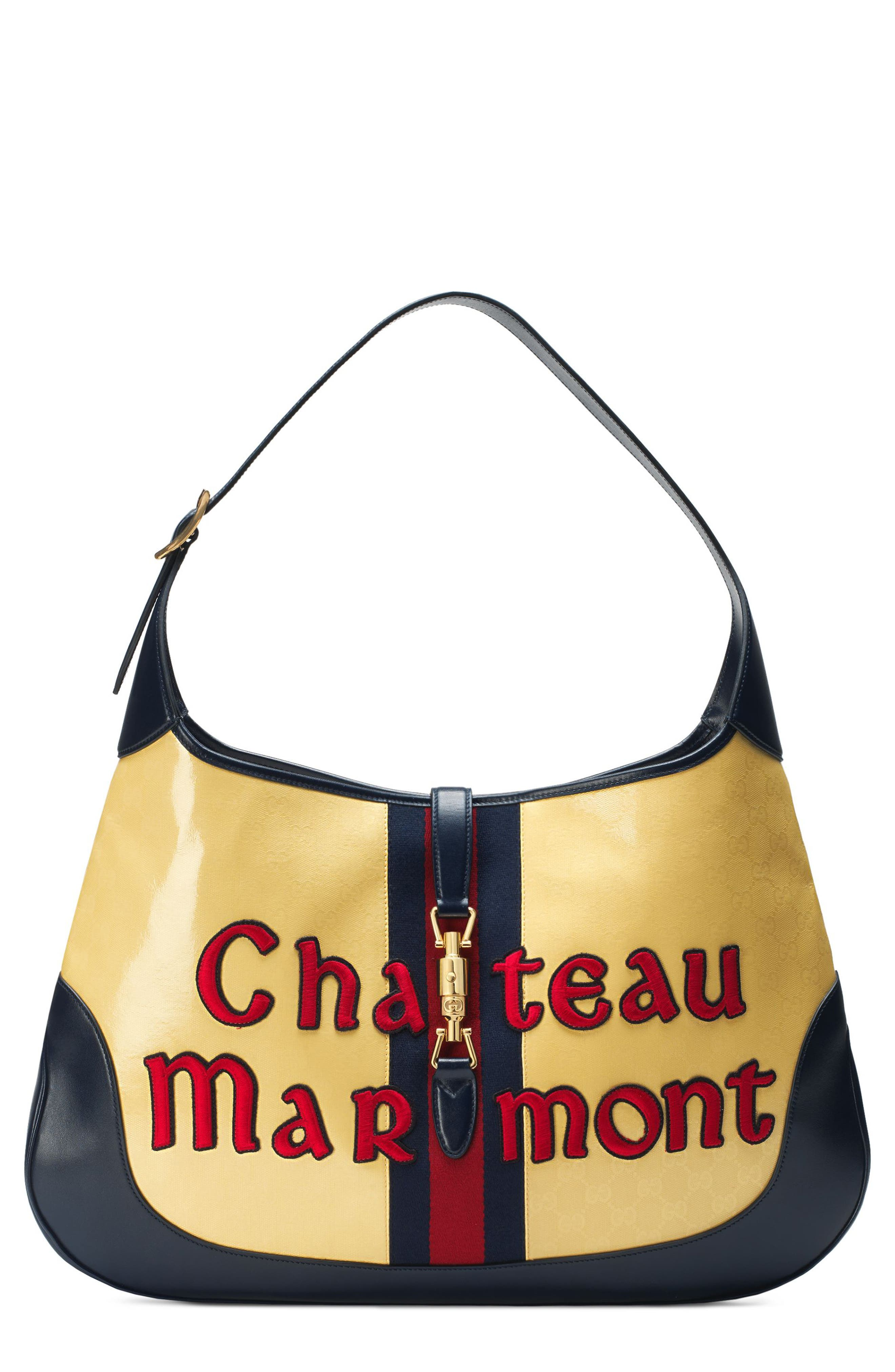 Maxi Jackie Chateau Marmont GG Hobo,                         Main,                         color, STRAW YELLOW/ BLU/ RED
