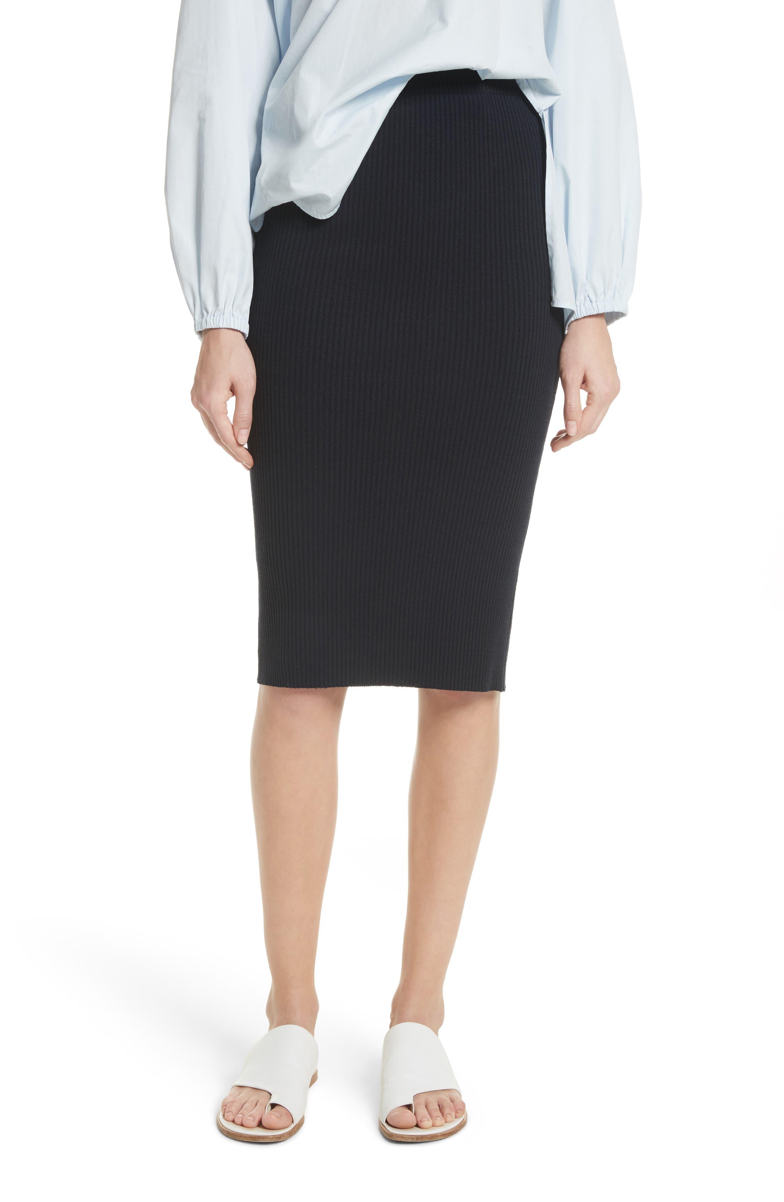 Ribbed Pencil Skirt,                             Main thumbnail 1, color,                             403