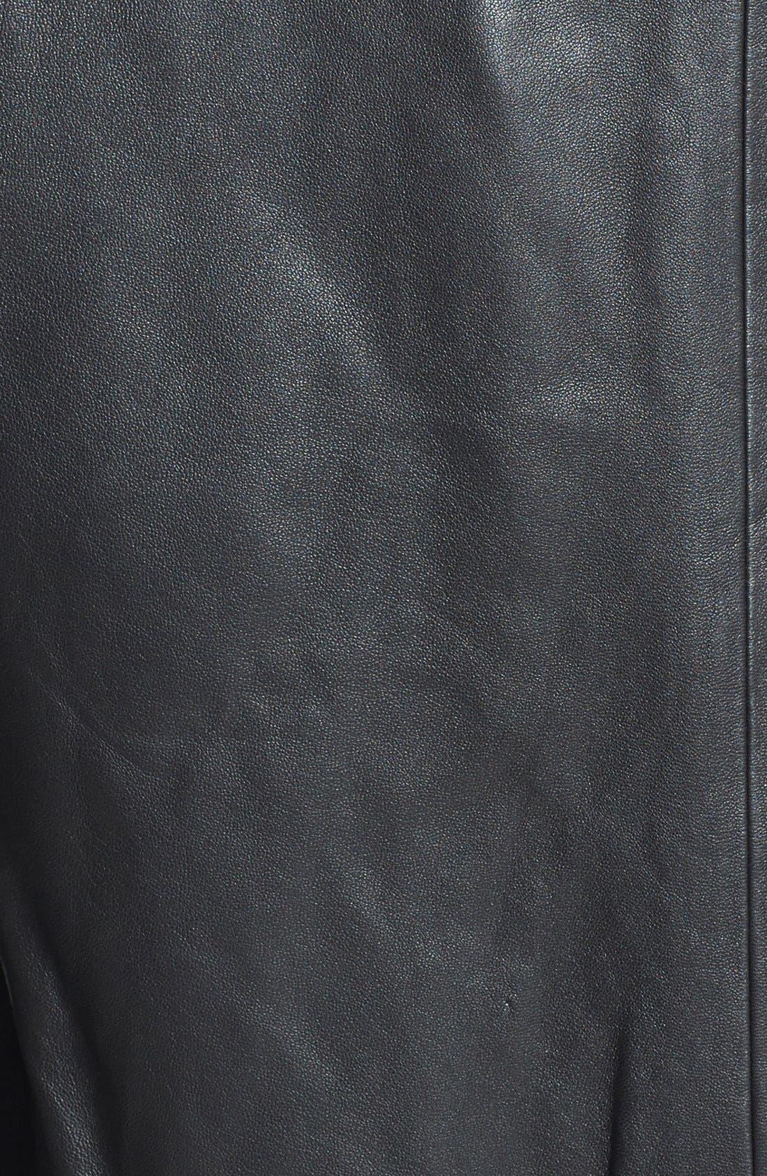 Hooded Leather Bomber Jacket,                             Alternate thumbnail 3, color,                             001
