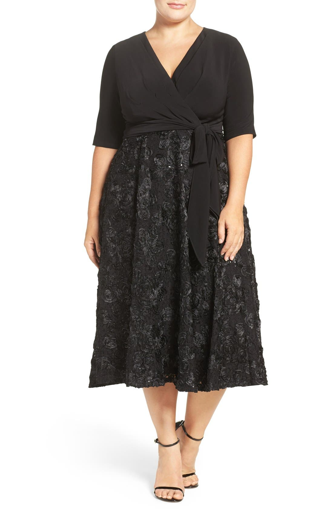Tea Length Jersey & Rosette Lace Dress,                             Alternate thumbnail 4, color,                             001