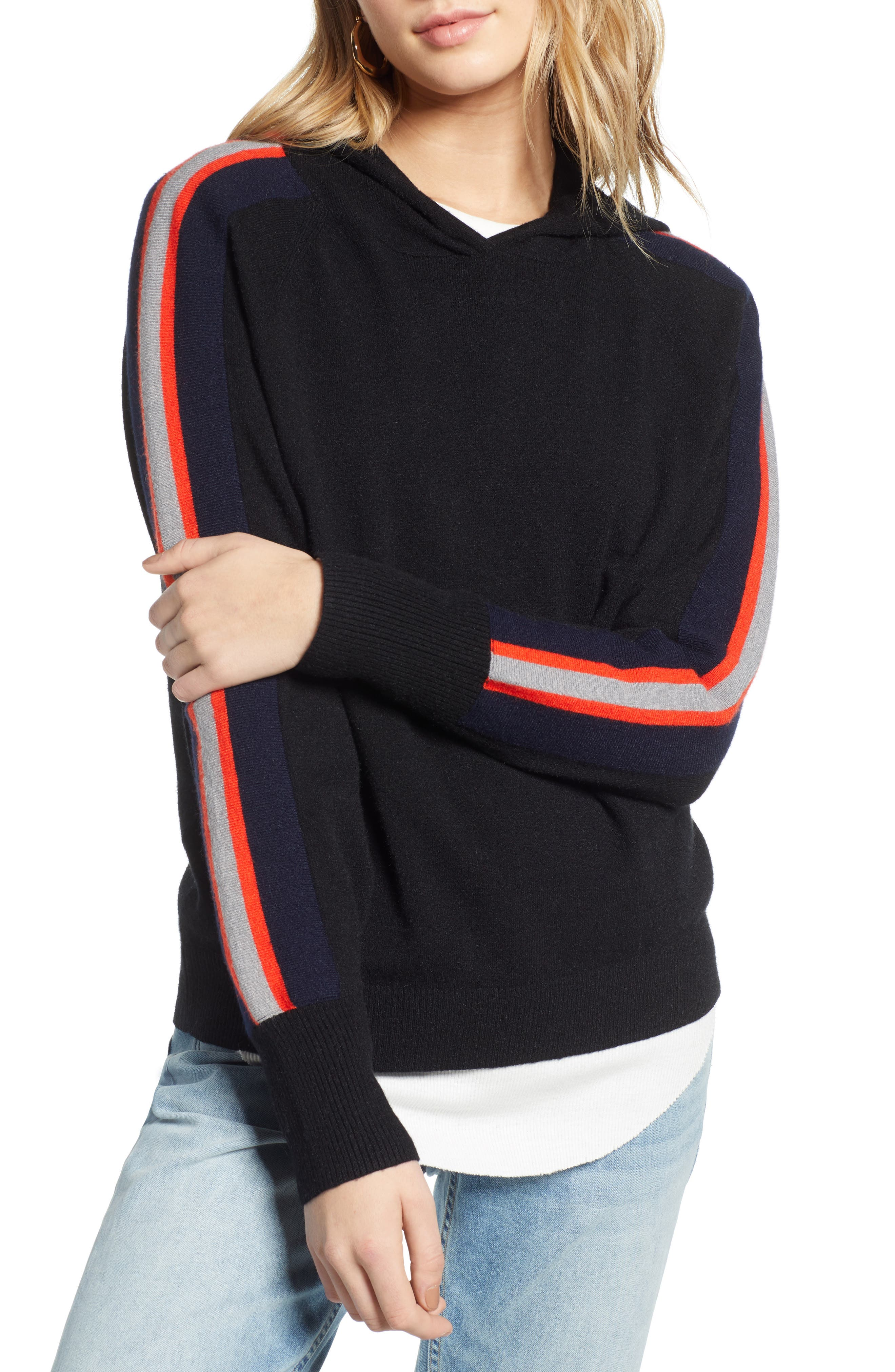TREASURE & BOND Stripe Hoodie, Main, color, BLACK/ RED FIERY COMBO