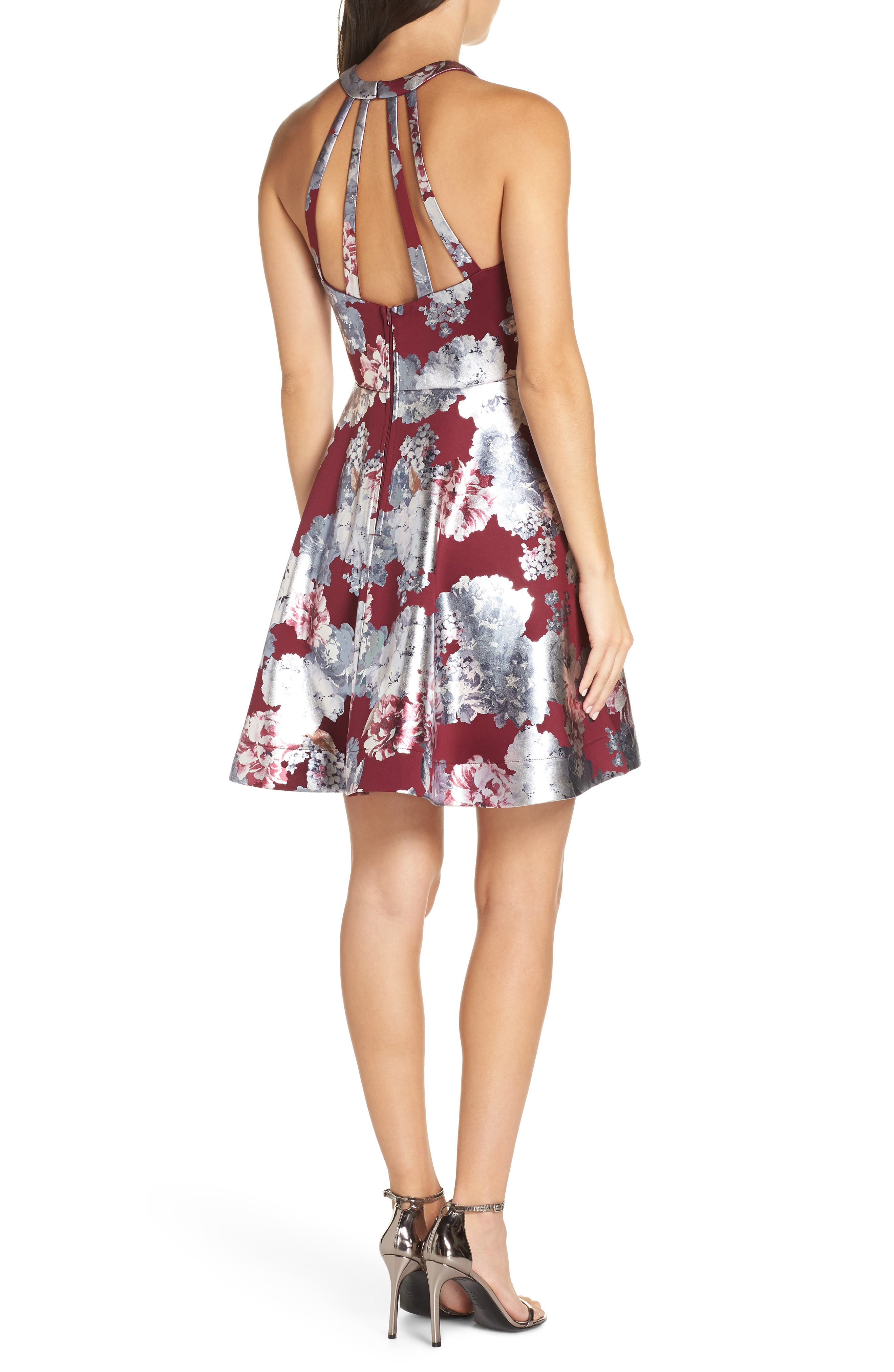 Foiled Floral Fit & Flare Dress,                             Alternate thumbnail 2, color,                             MALBEC/ SILVER