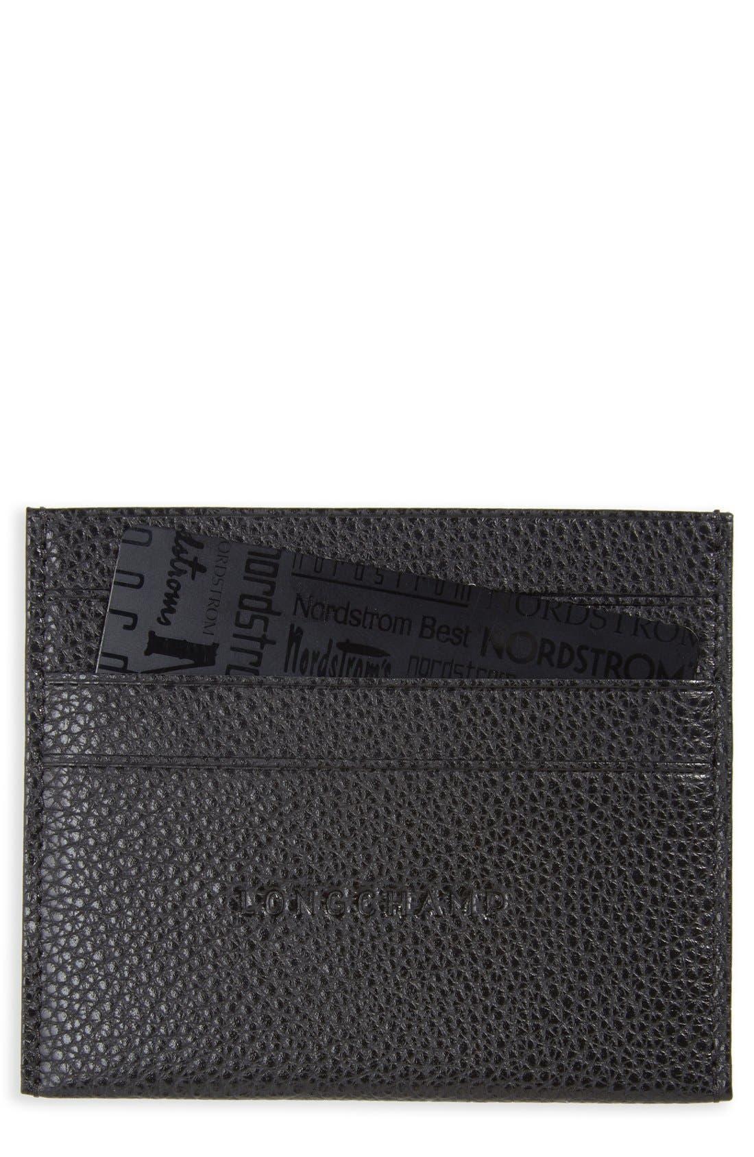 'Le Foulonne' Pebbled Leather Card Holder,                         Main,                         color, BLACK