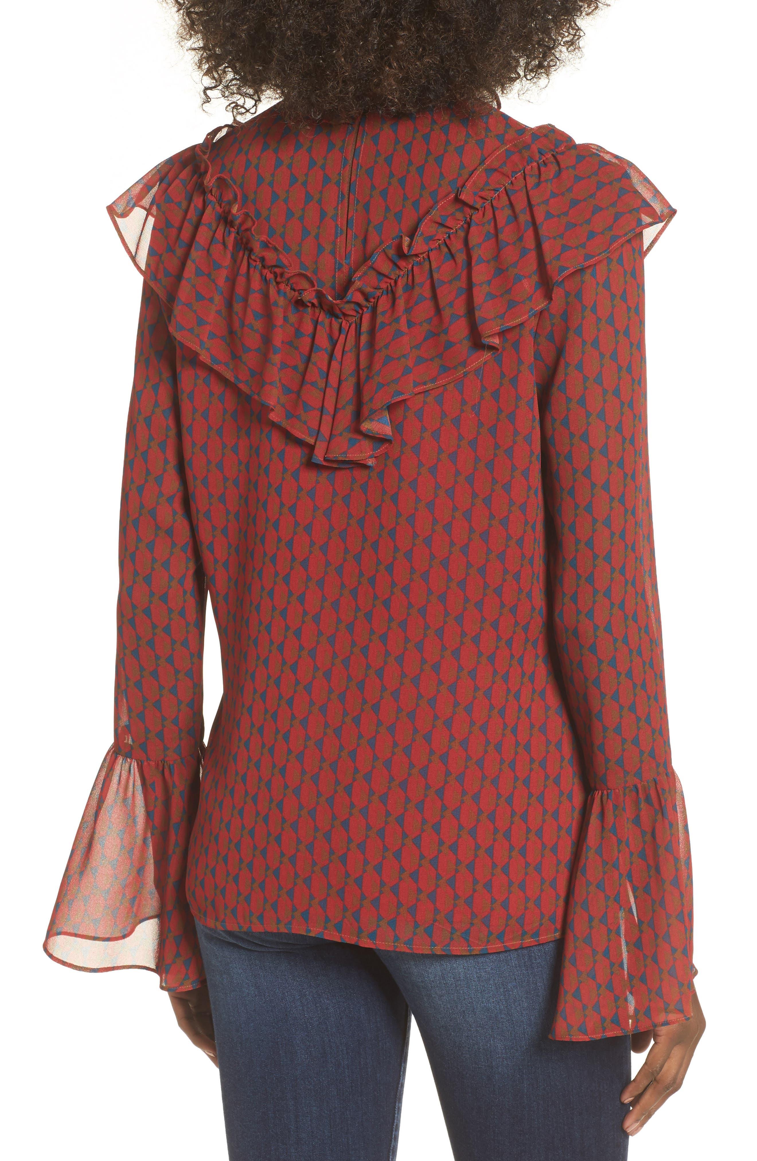 Eryn Ruffle Bell Sleeve Blouse,                             Alternate thumbnail 2, color,                             600