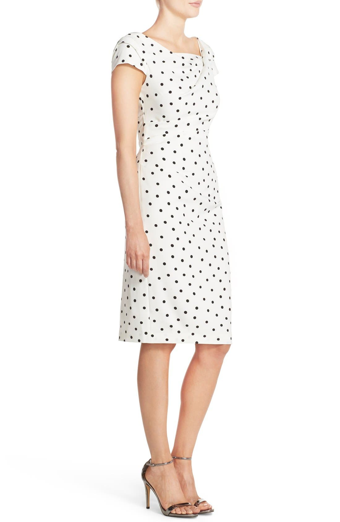 ADRIANNA PAPELL,                             Polka Dot Crepe Sheath Dress,                             Alternate thumbnail 4, color,                             900