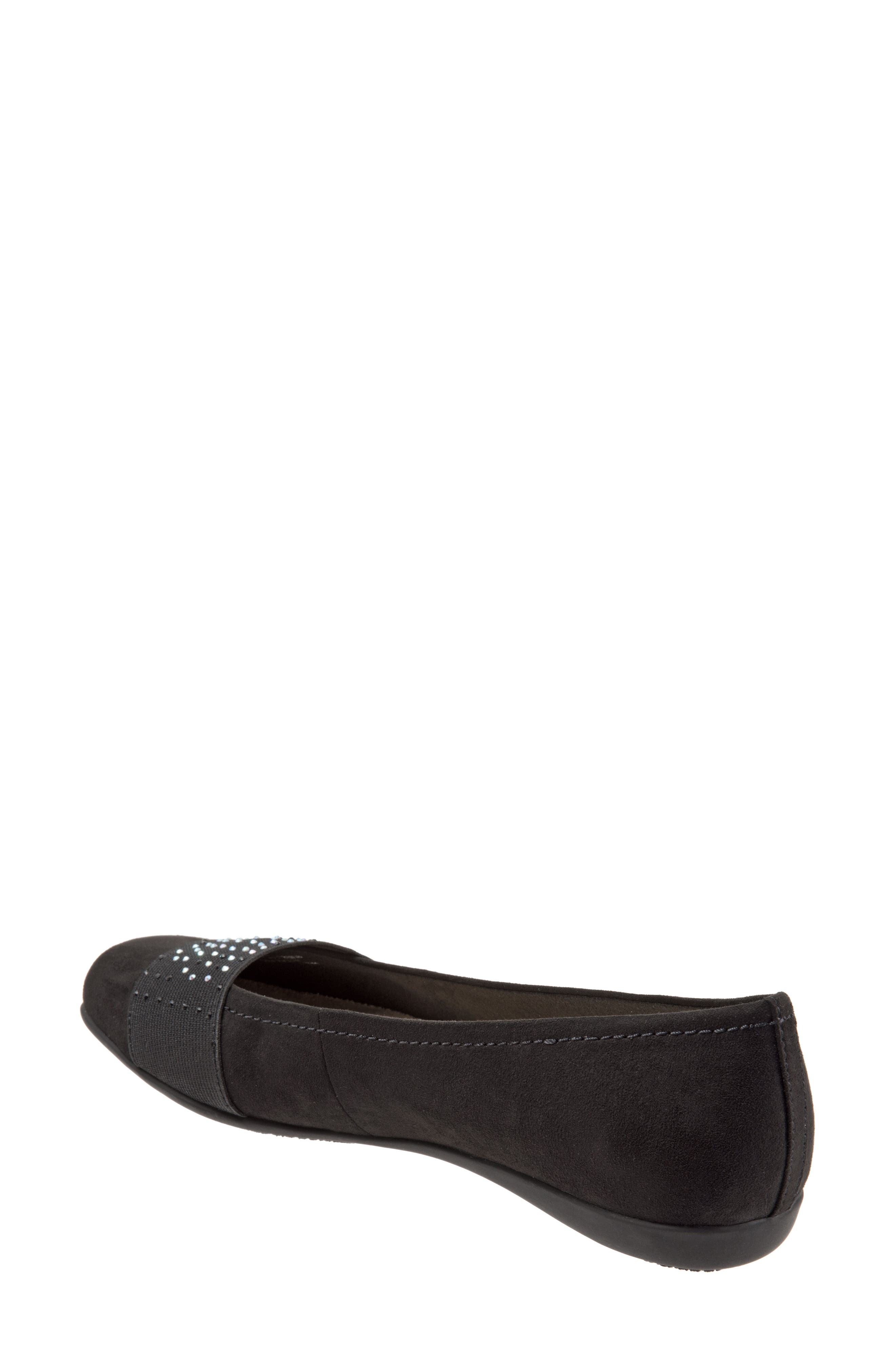 TROTTERS,                             Samantha Flat,                             Alternate thumbnail 7, color,                             BLACK SUEDE