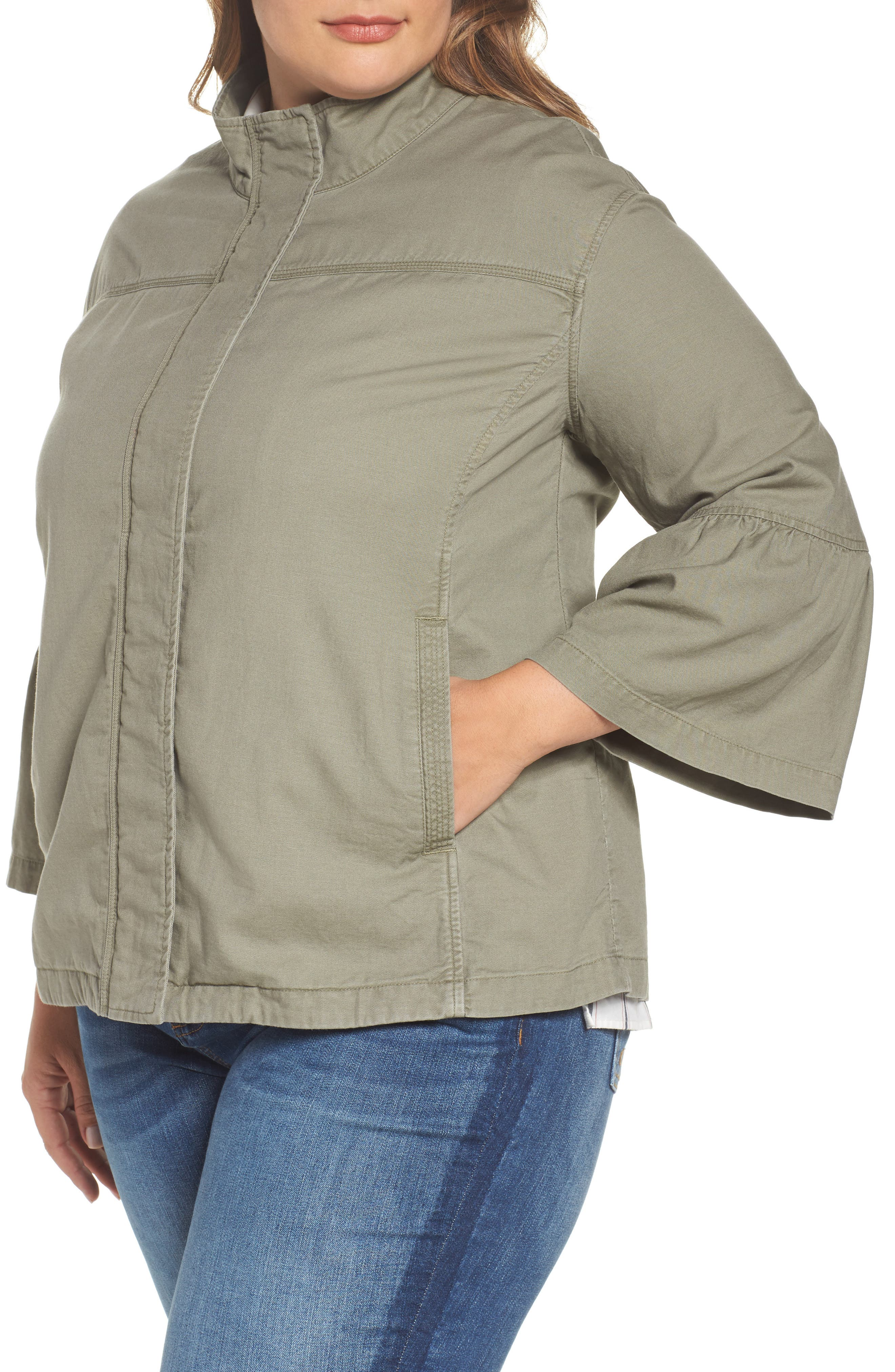 Bell Sleeve Utility Jacket,                             Alternate thumbnail 4, color,                             315