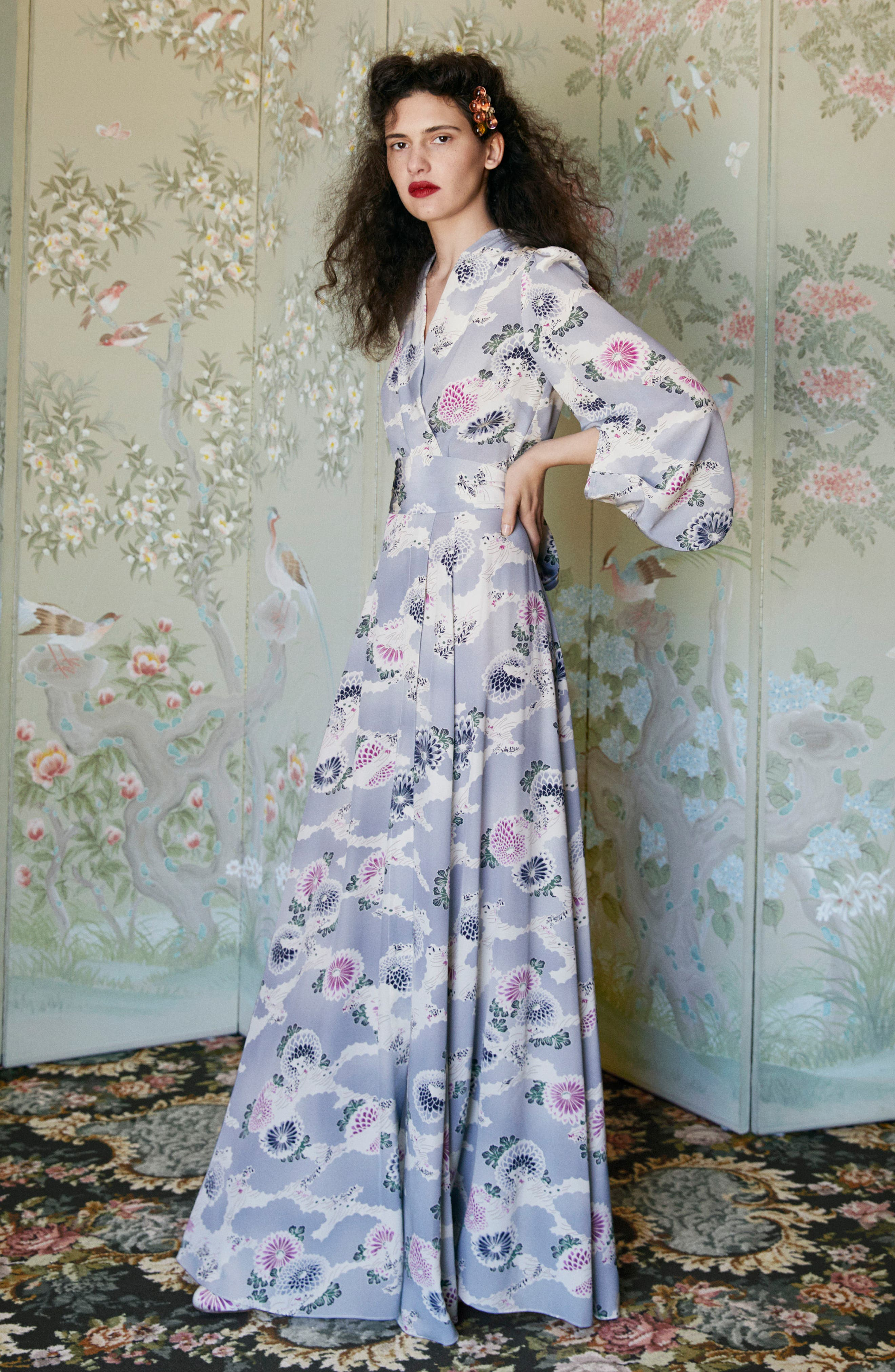 Floral Print Silk Crêpe de Chine Maxi Wrap Dress,                             Alternate thumbnail 7, color,                             020