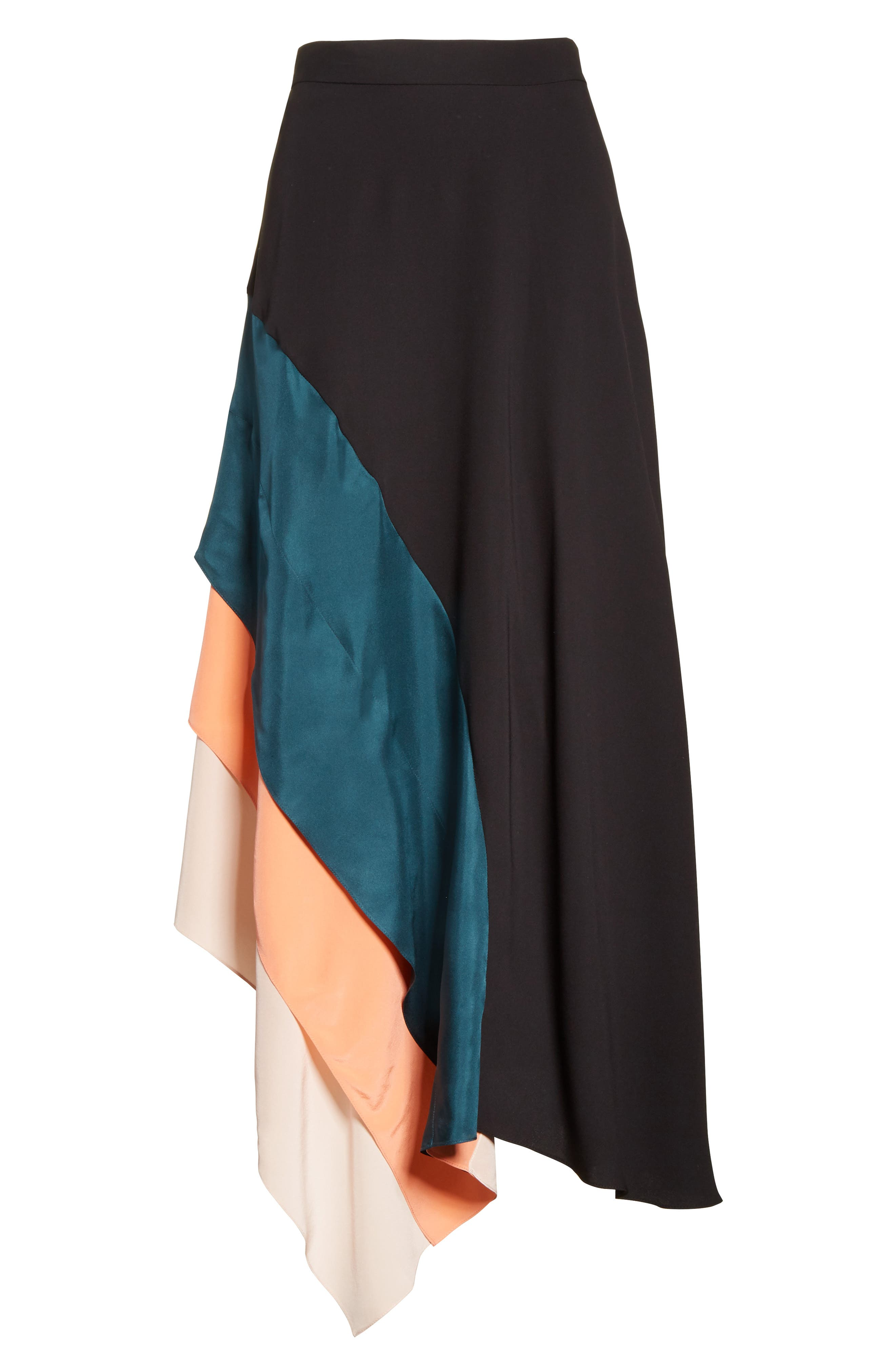 Delma Asymmetric Silk Skirt,                             Alternate thumbnail 6, color,