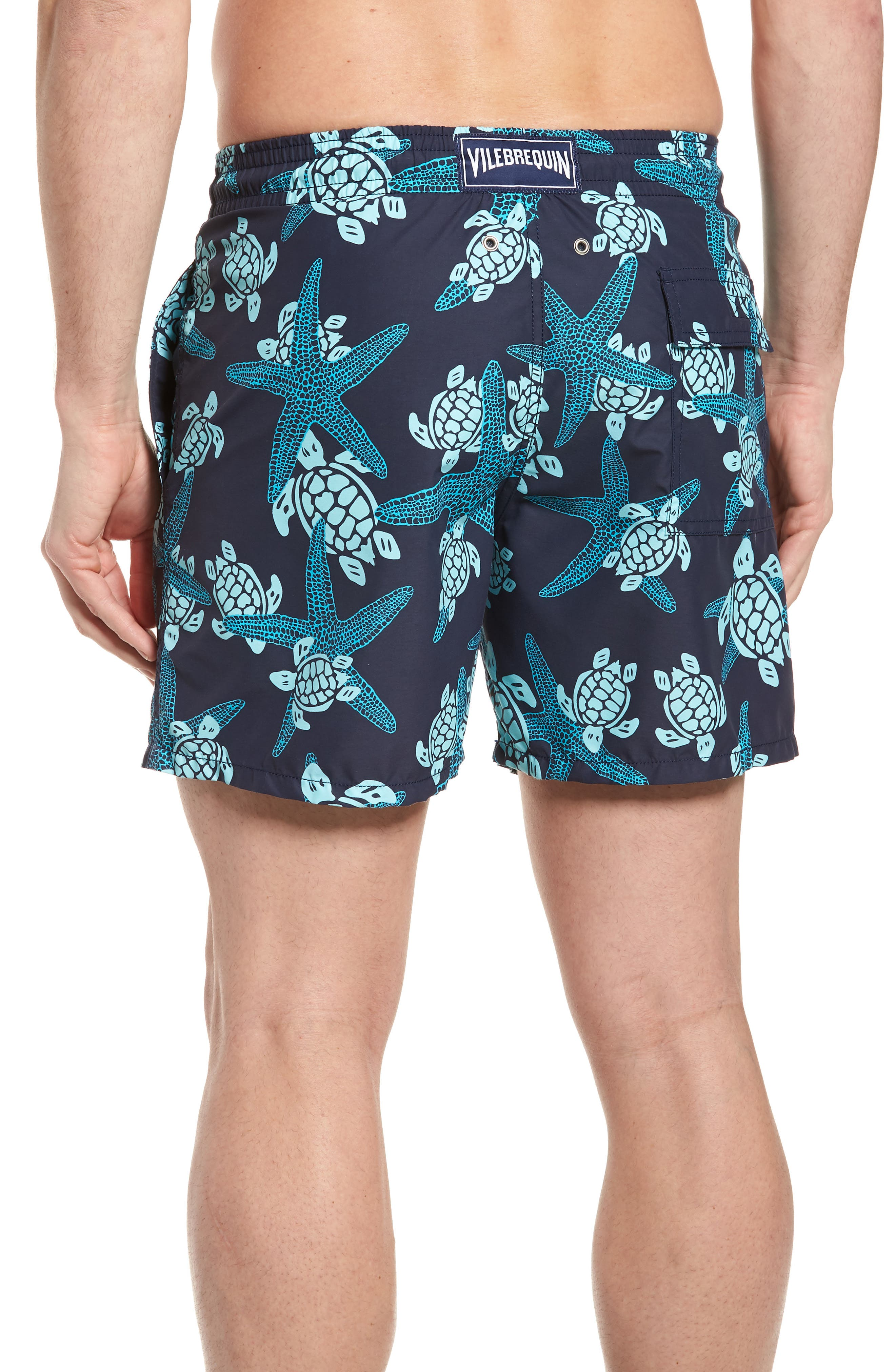 Starlette Turtle Print Swim Trunks,                             Alternate thumbnail 2, color,                             NAVY