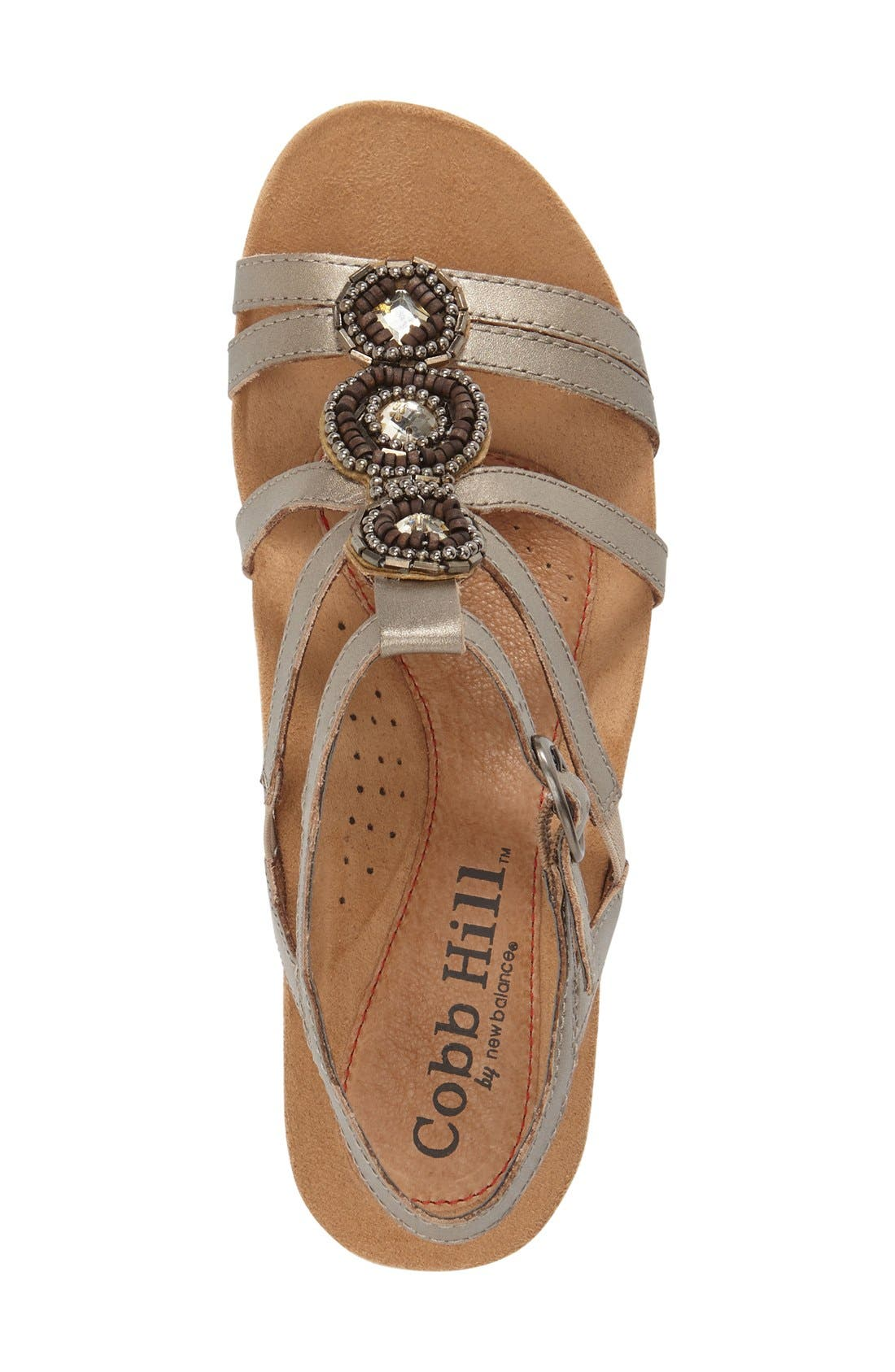'Hannah' Leather Sandal,                             Alternate thumbnail 4, color,                             PEWTER LEATHER