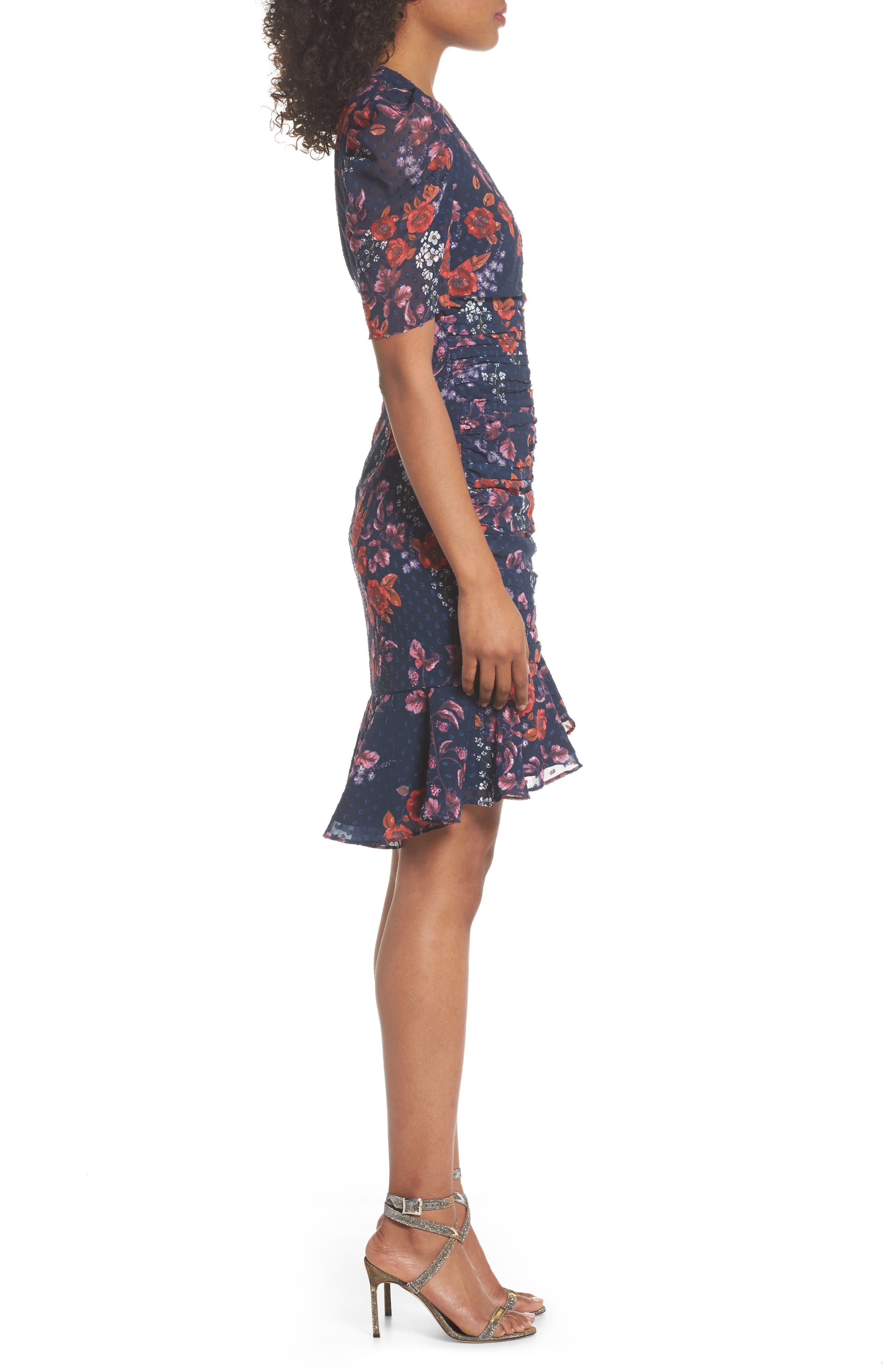 KEEPSAKE THE LABEL,                             Need You Now Floral Ruched Dress,                             Alternate thumbnail 3, color,                             411