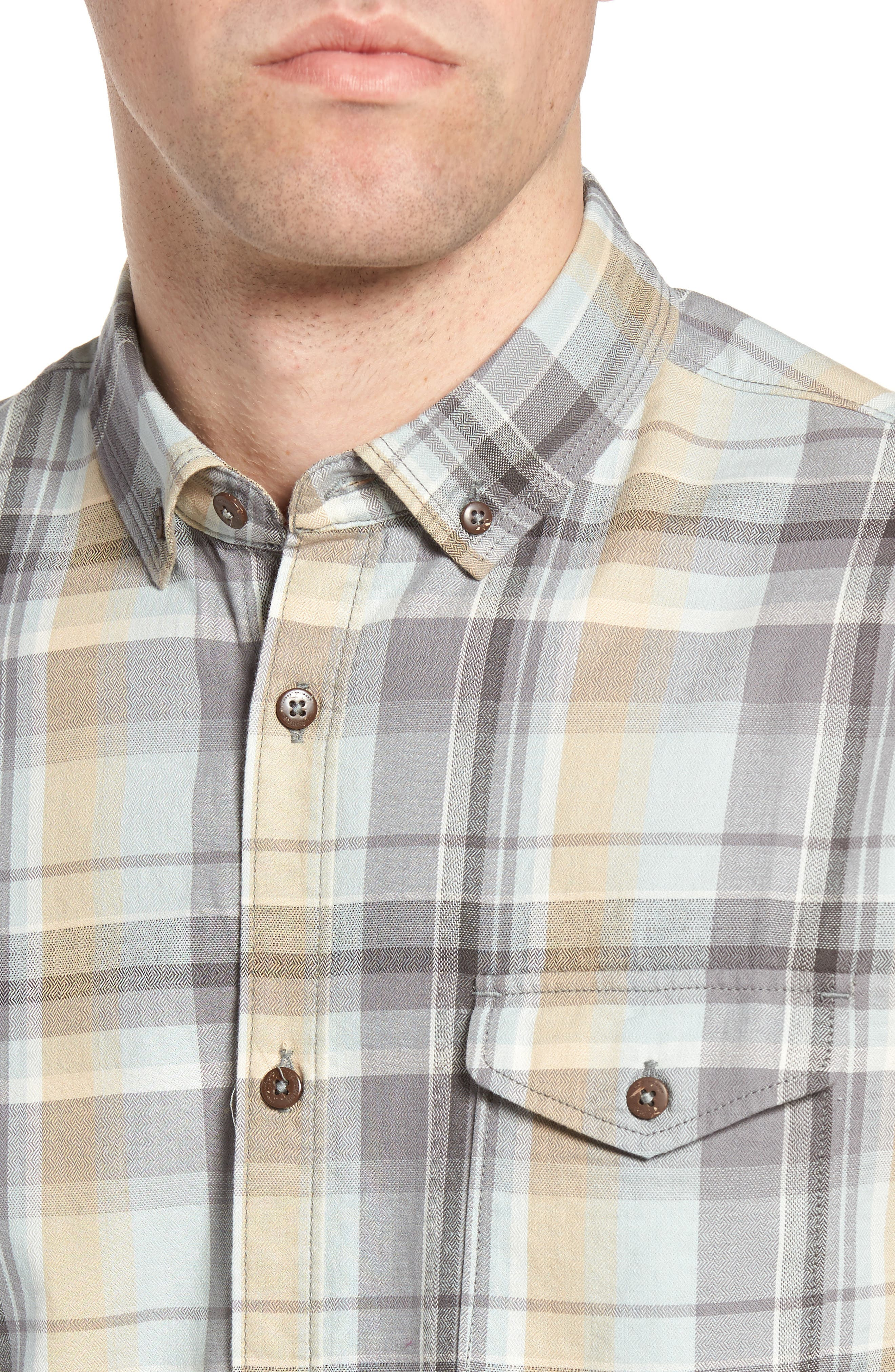 Cecil Regular Fit Herringbone Plaid Sport Shirt,                             Alternate thumbnail 4, color,                             459