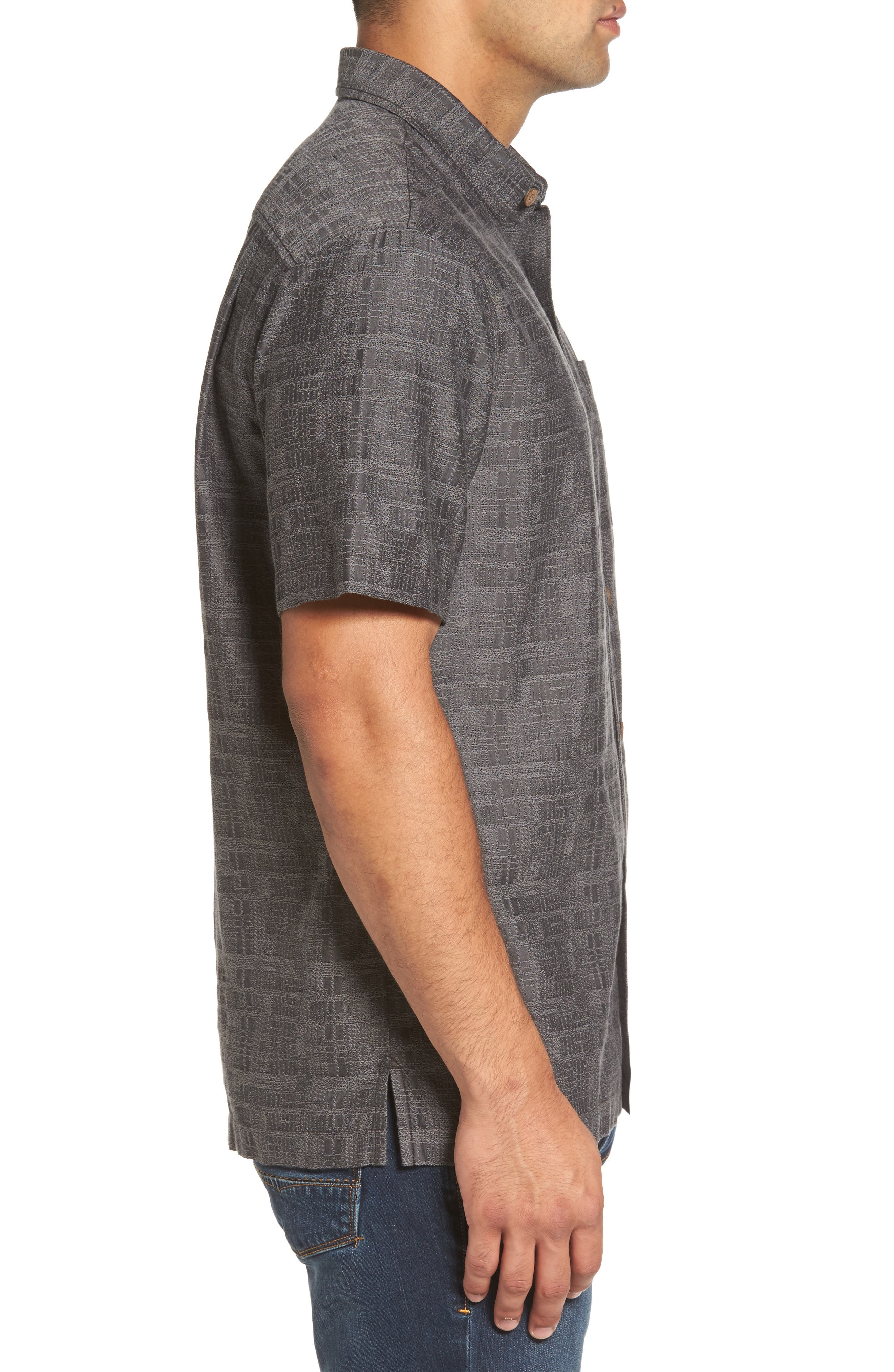 Getaway Grid Silk Blend Camp Shirt,                             Alternate thumbnail 3, color,                             001