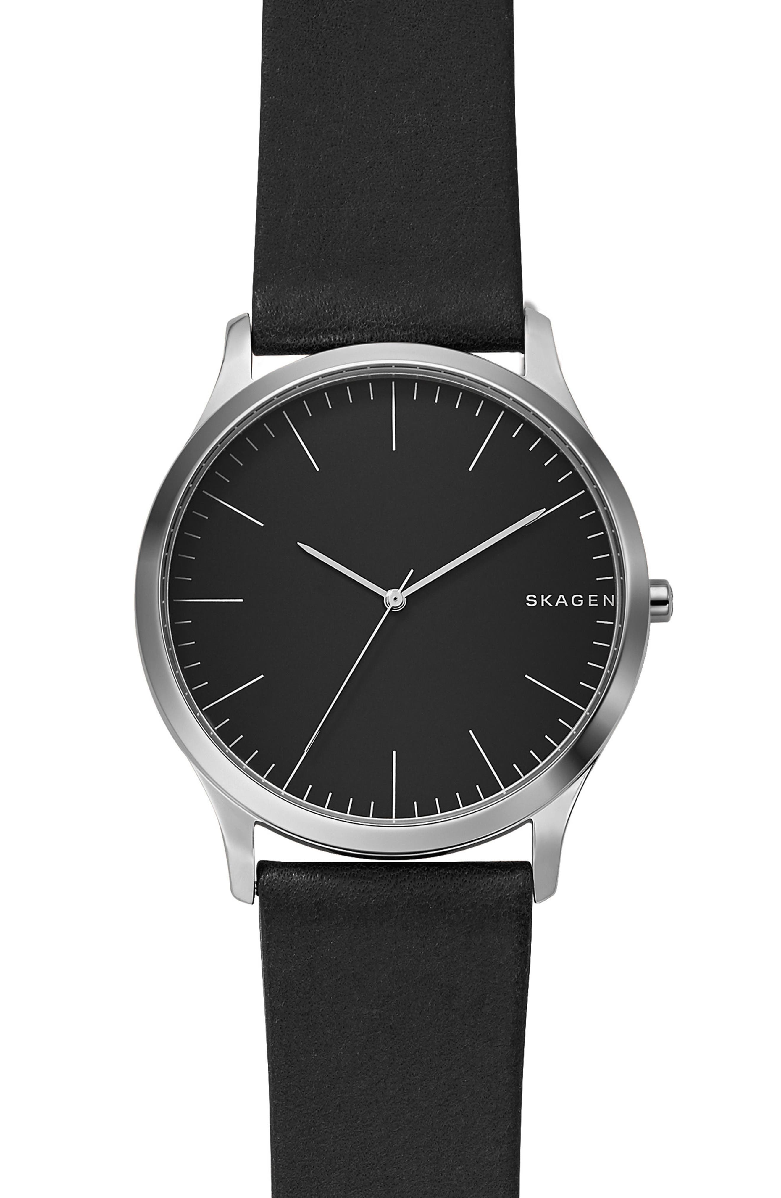 Jorn Leather Strap Watch, 41mm,                             Alternate thumbnail 2, color,                             BLACK
