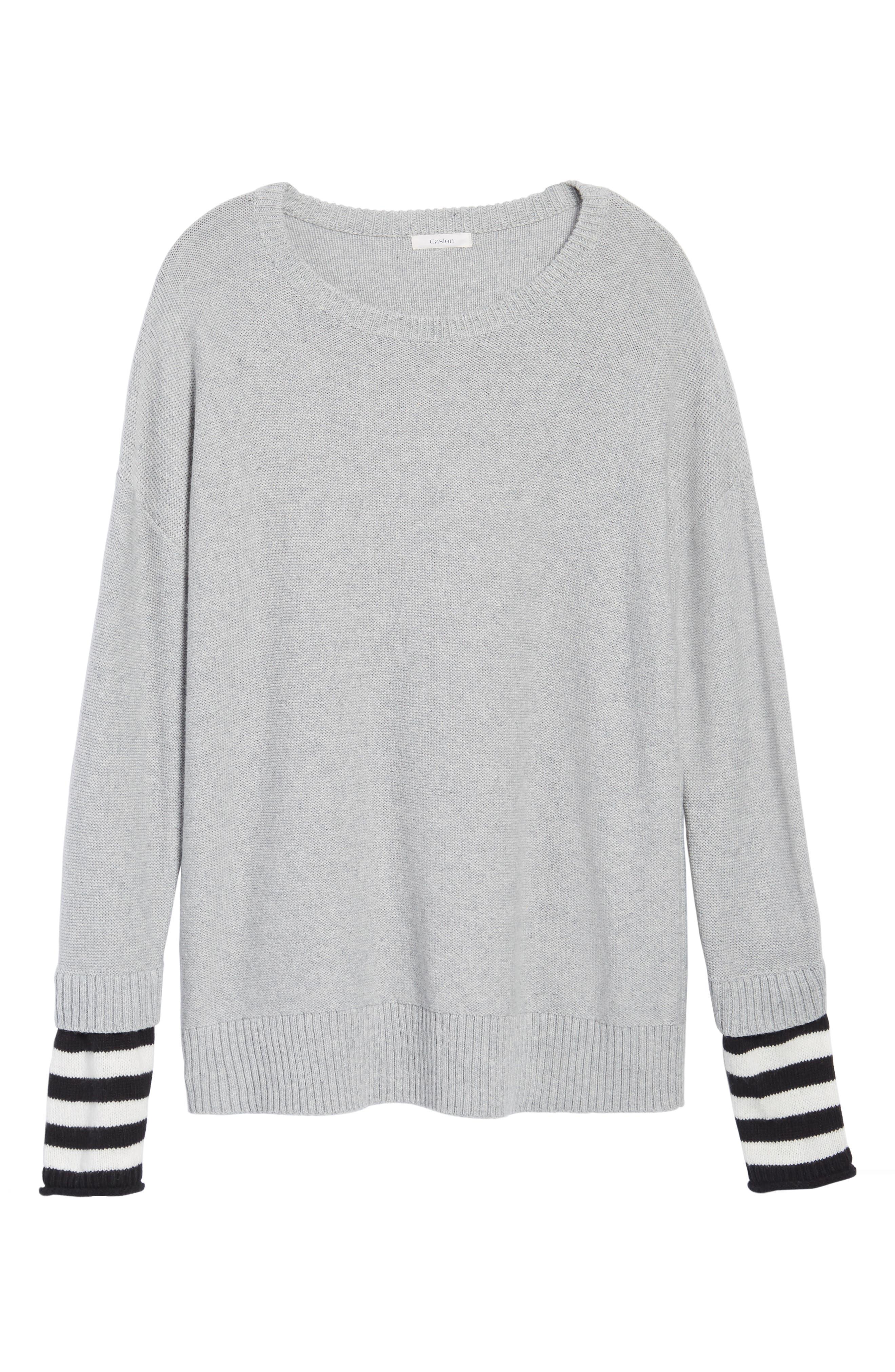 Contrast Cuff Crewneck Sweater,                             Alternate thumbnail 6, color,                             030