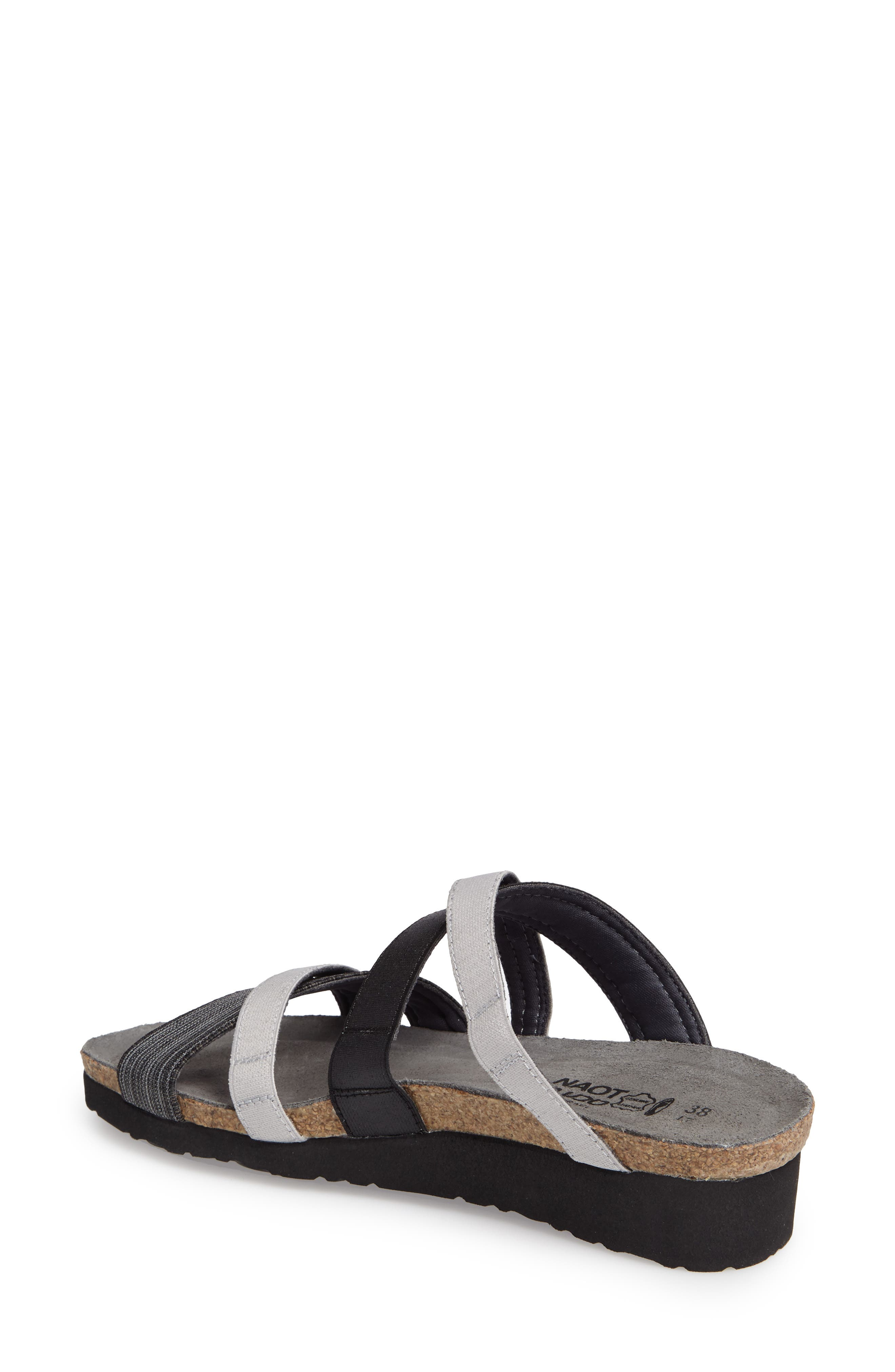 Roxana Strappy Slip-On Sandal,                             Alternate thumbnail 2, color,                             BLACK/ GREY FABRIC