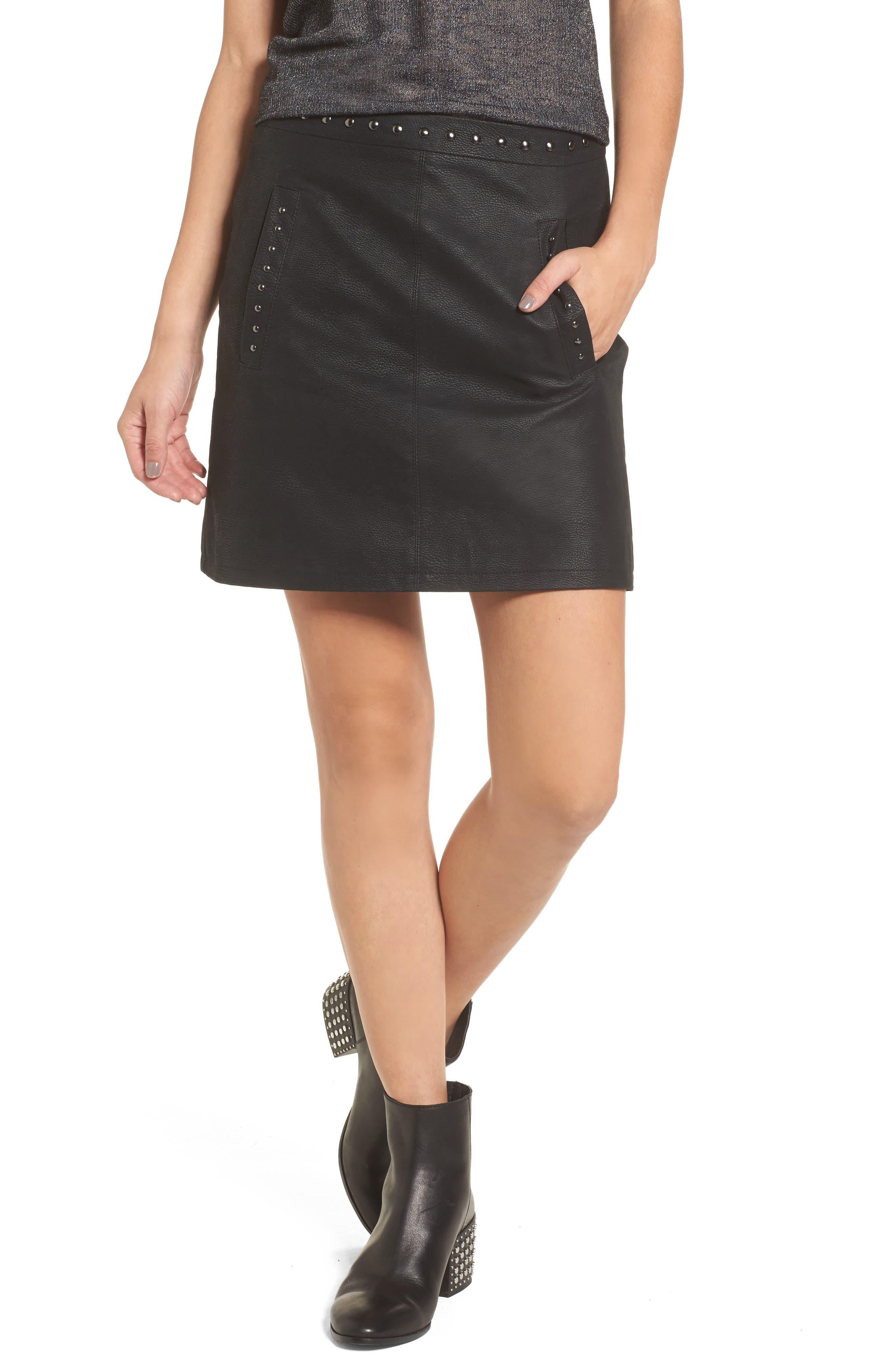 Studded Faux Leather Miniskirt,                             Main thumbnail 1, color,                             001