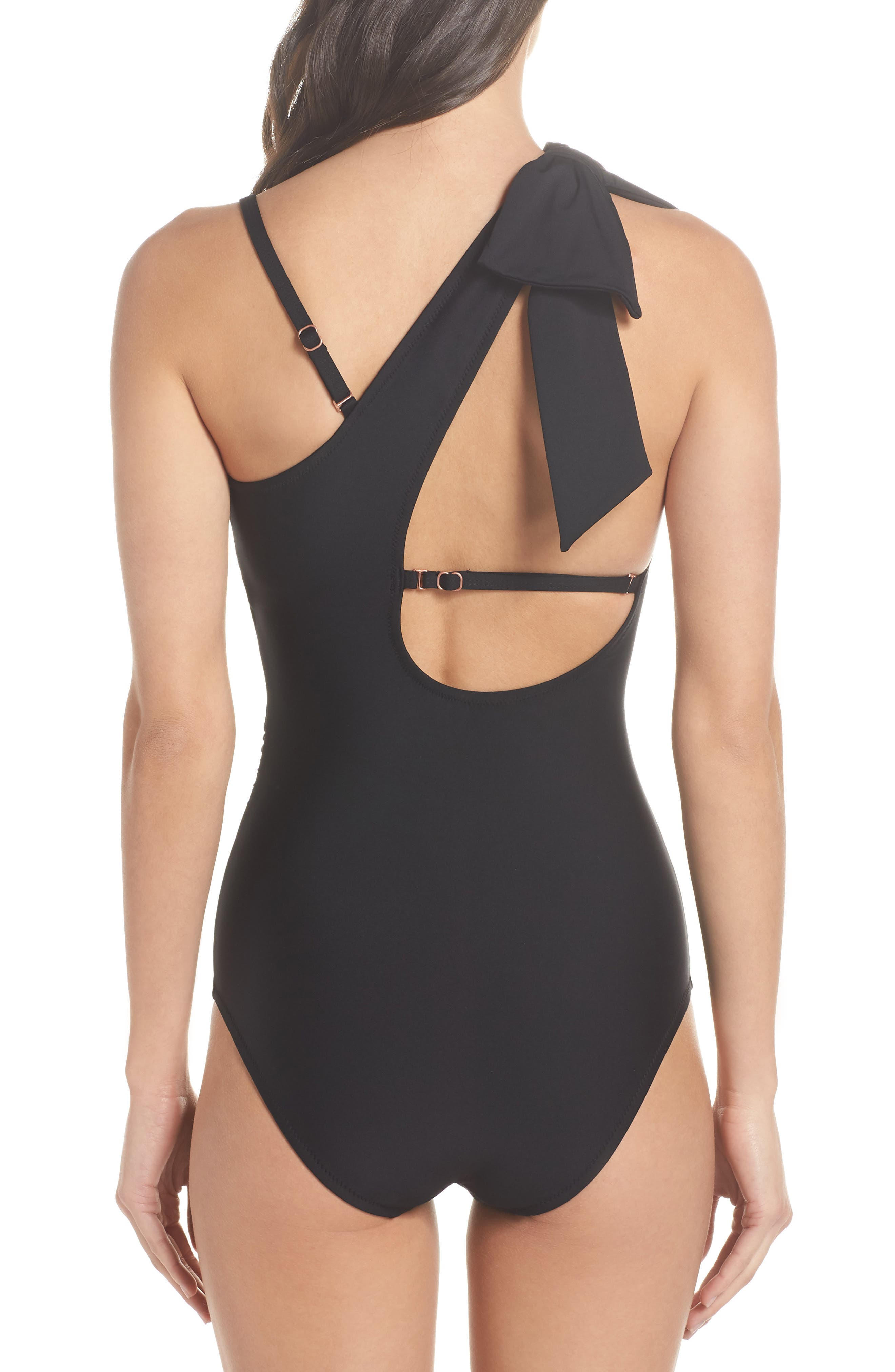 Showstopper One-Piece Swimsuit,                             Alternate thumbnail 3, color,                             BLACK